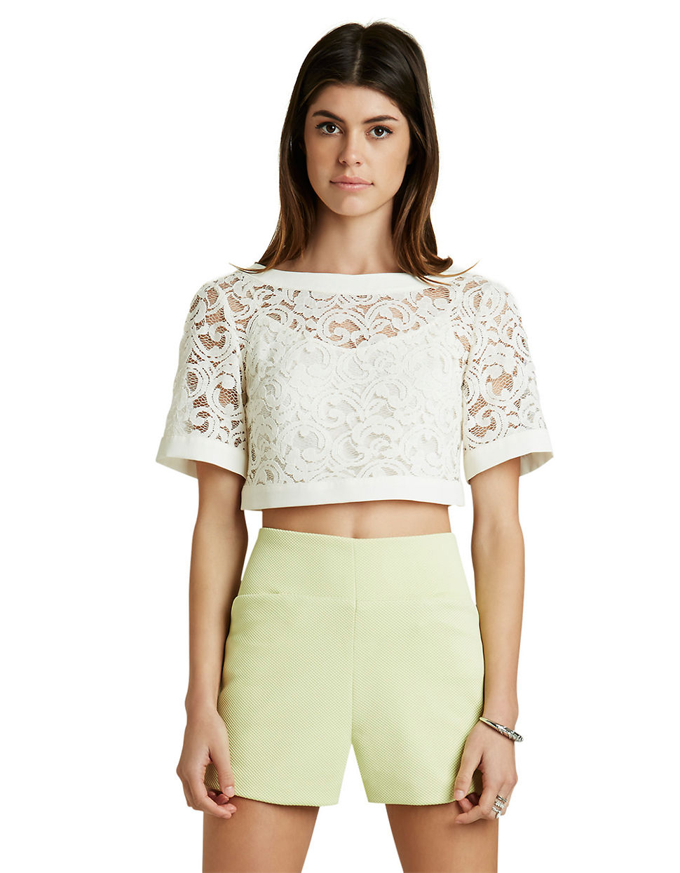 54eb7468538e3 Lyst - Bcbgeneration Lace Crop Top in White