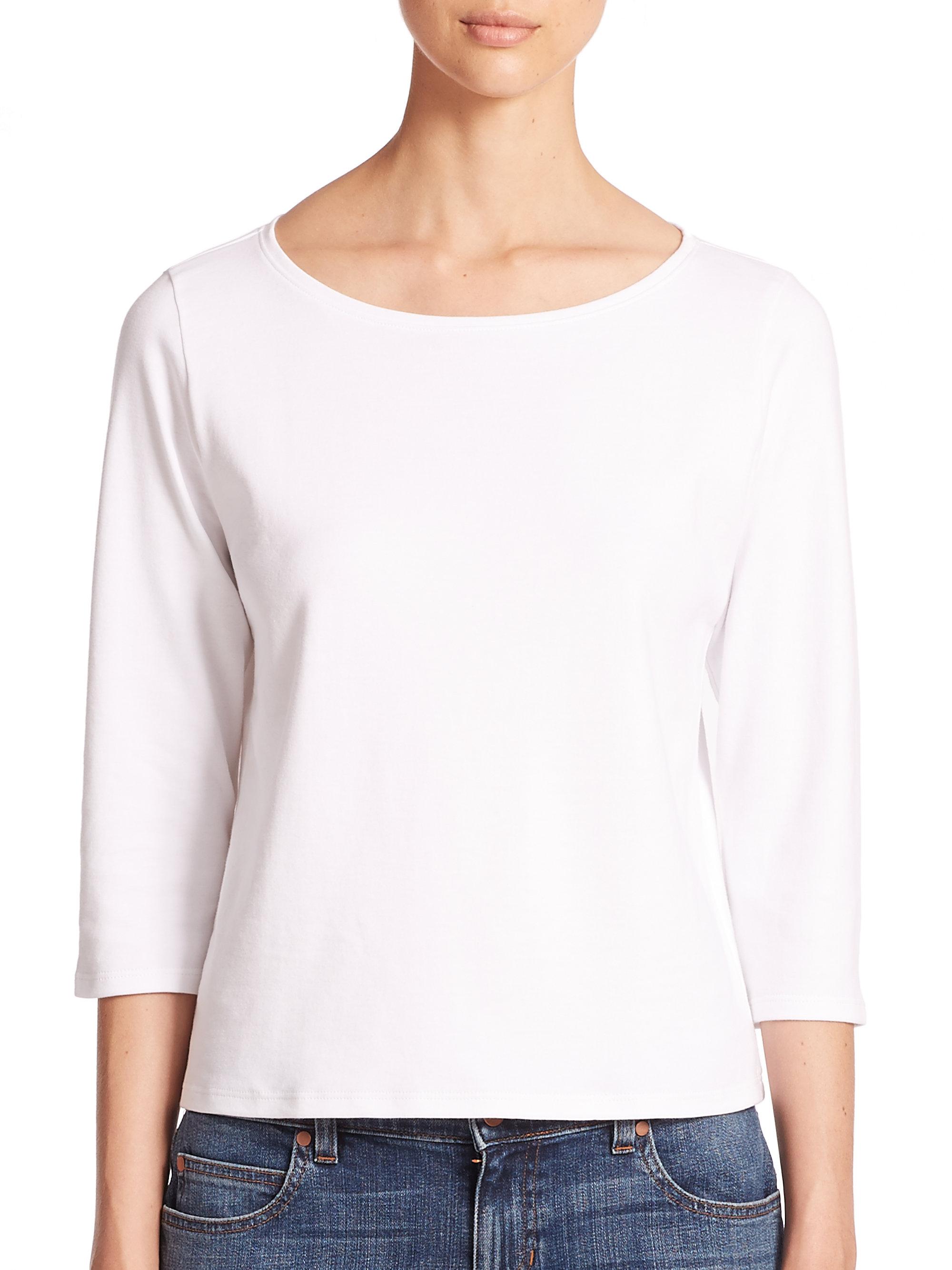 Eileen fisher ballet neck organic cotton tee in white lyst for Eileen fisher organic cotton t shirt
