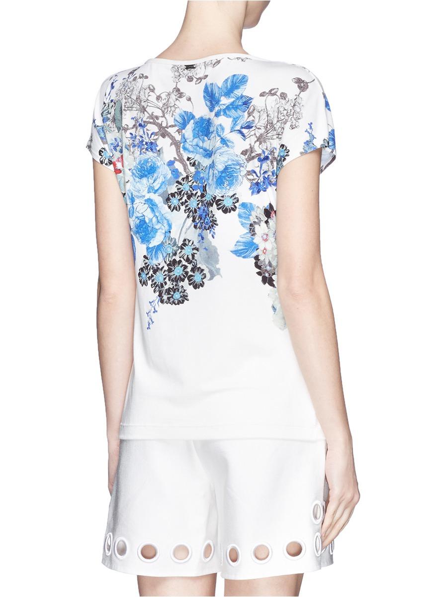 Lyst St John Floral Print Jersey T Shirt
