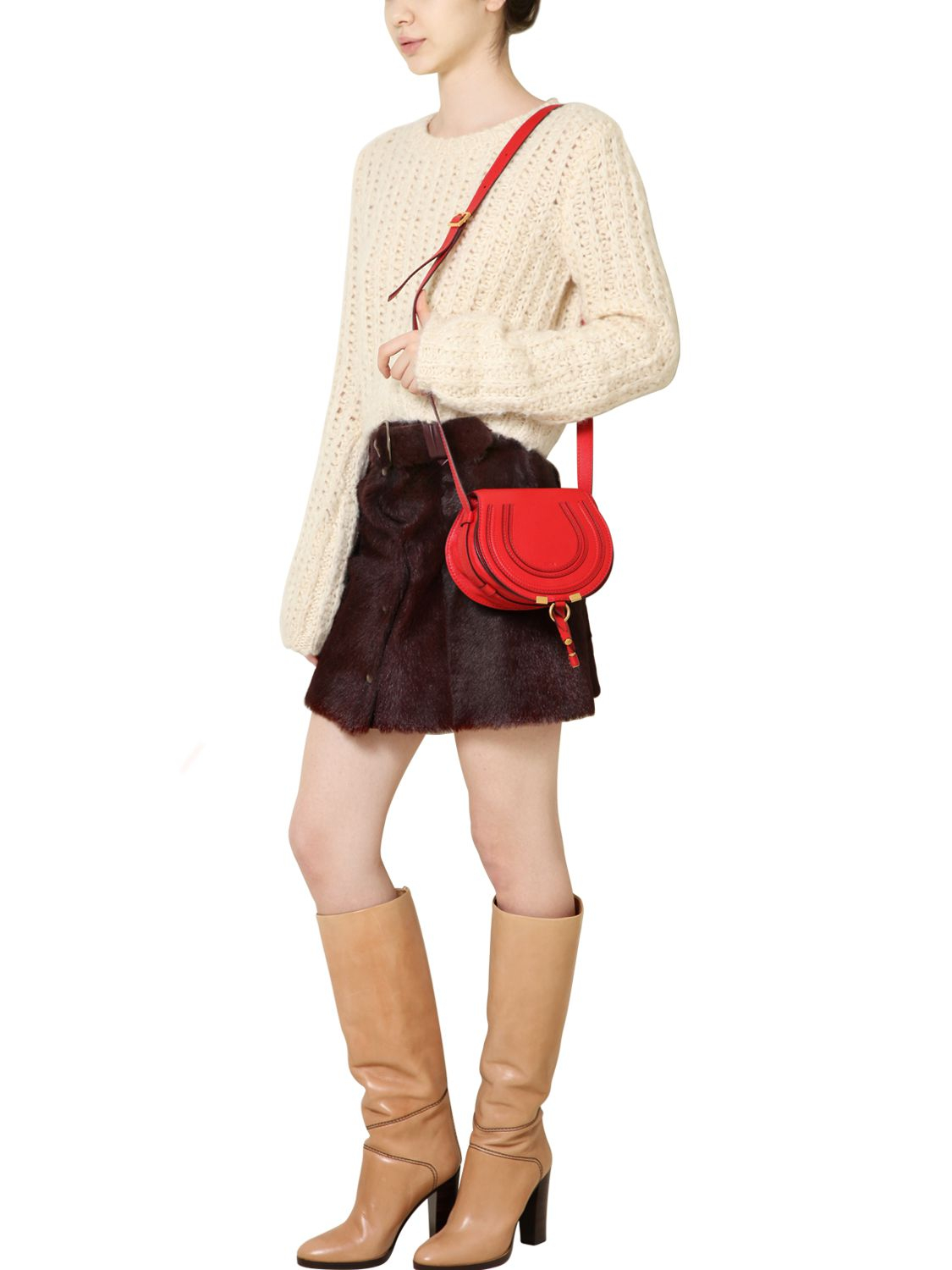 chloe bag - Chlo�� Small Marcie Leather Crossbody Bag in Red (PAPRIKA RED) | Lyst
