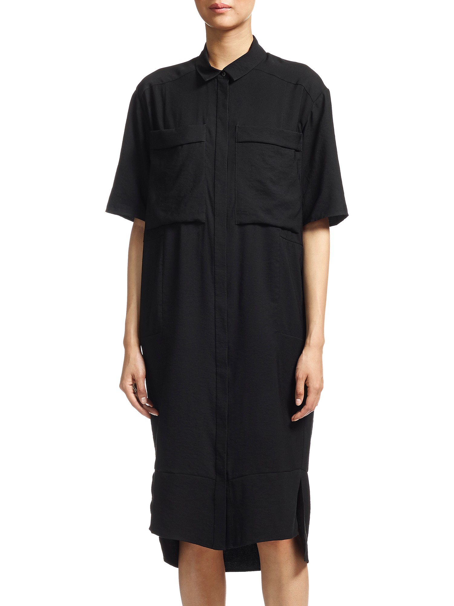 Whistles Longline Shirt Dress In Black Lyst