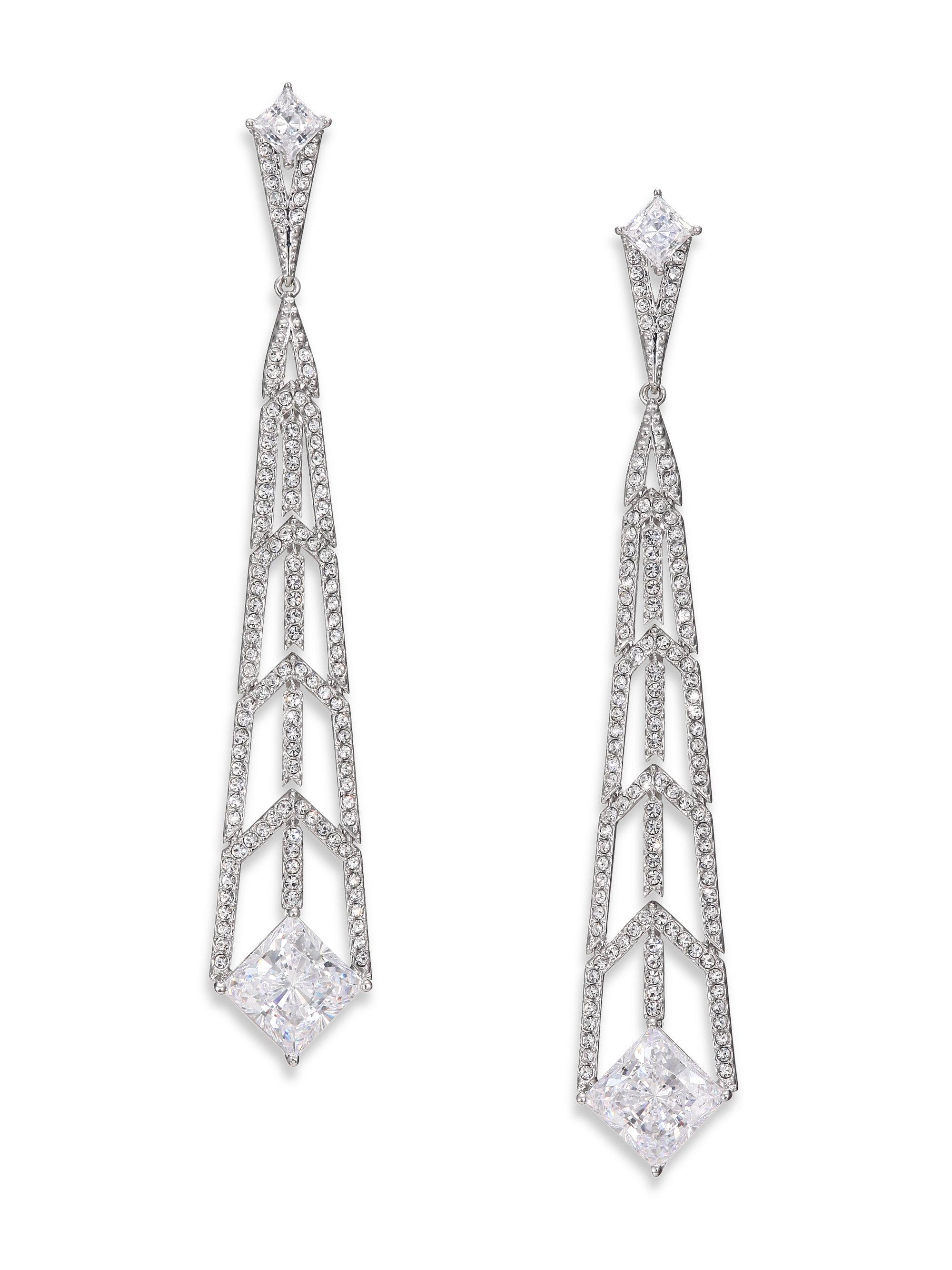 adriana orsini deco pave linear drop earrings silvertone in metallic lyst. Black Bedroom Furniture Sets. Home Design Ideas