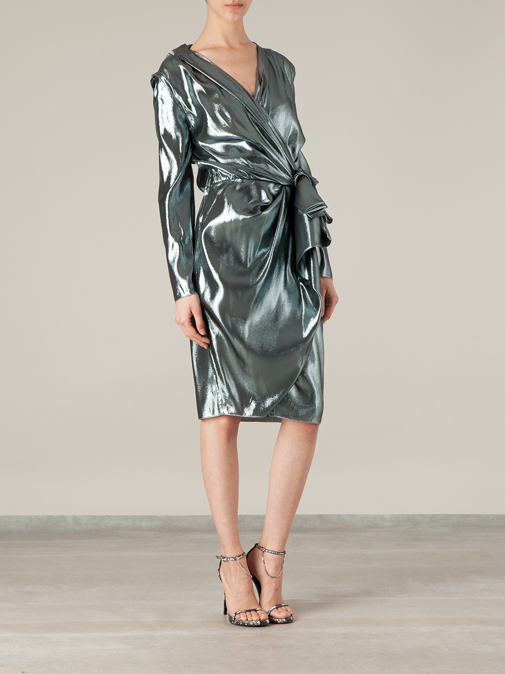 Lyst Lanvin Metallic Wrap Dress In Metallic