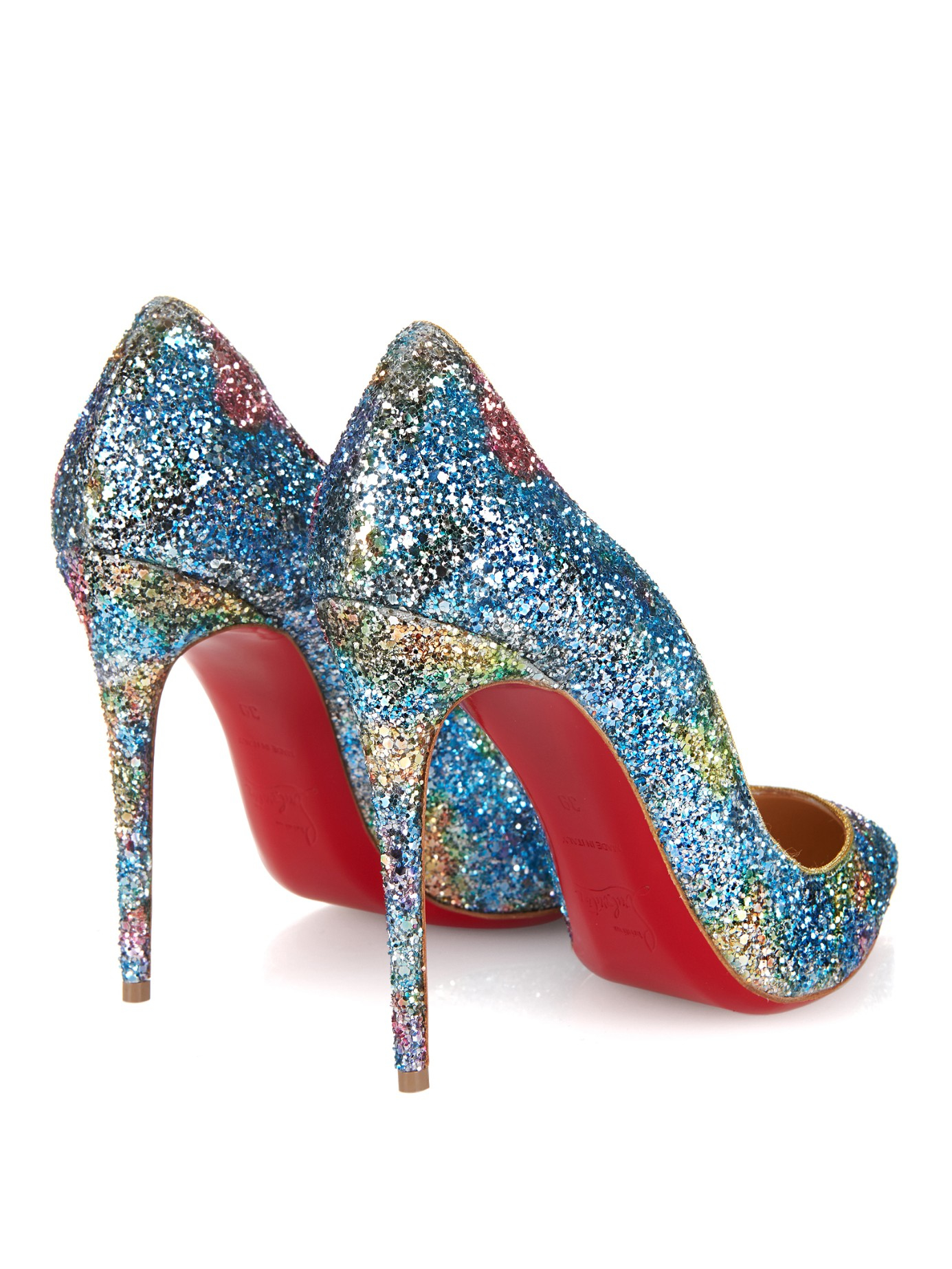 christian louboutin sparkle shoes blue