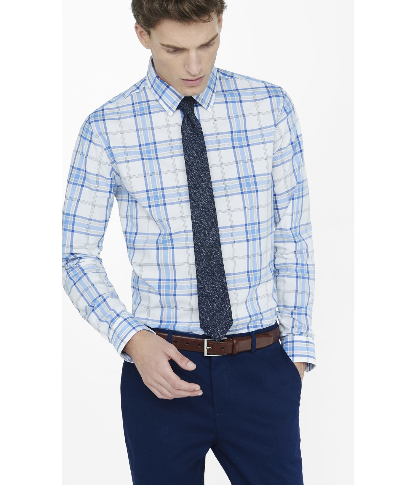 Express Fitted Plaid Dress Shirt in Blue for Men  Lyst
