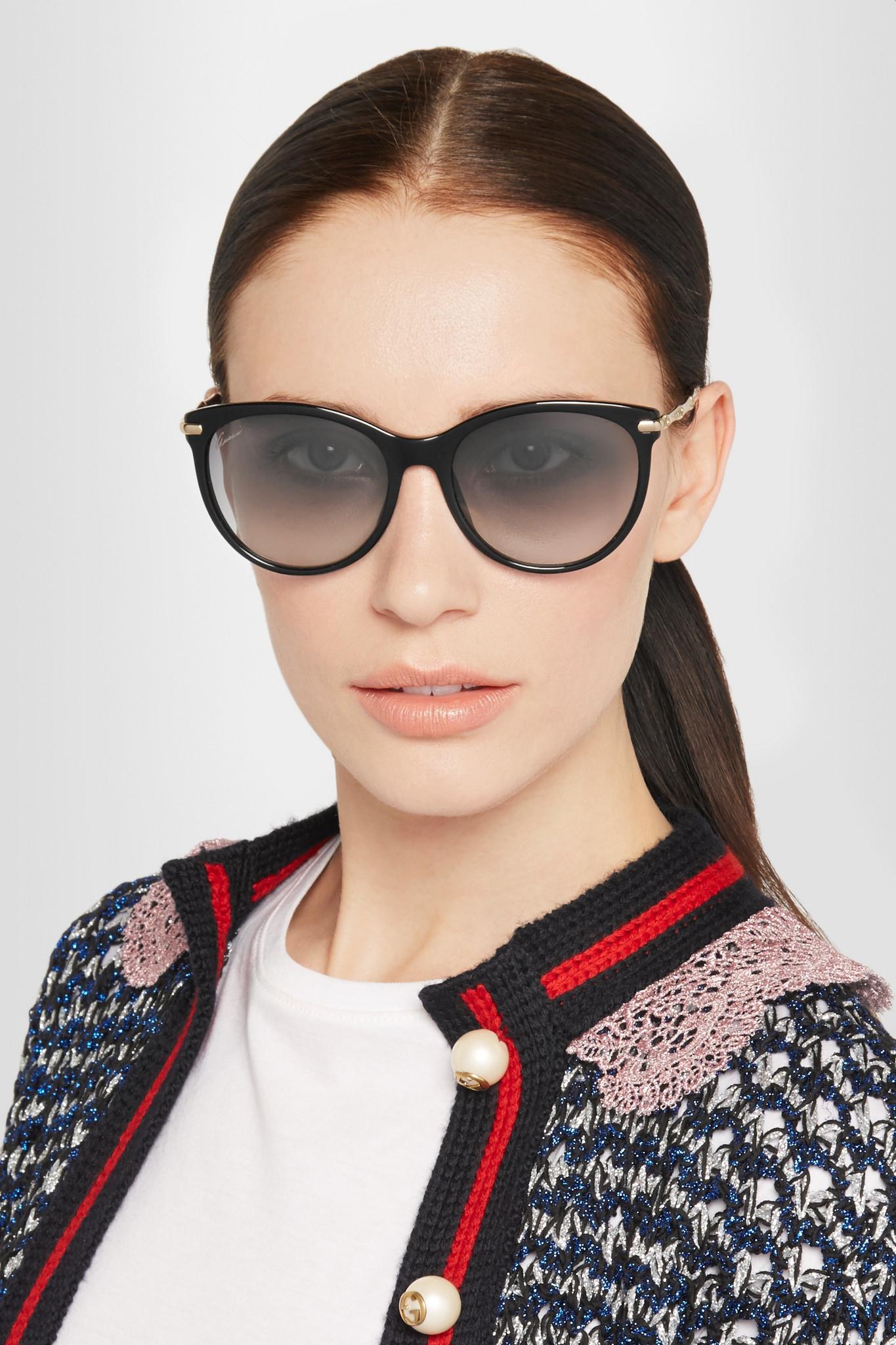 830ef75566d Gucci Cat-eye Acetate And Gold-tone Sunglasses in Black - Lyst