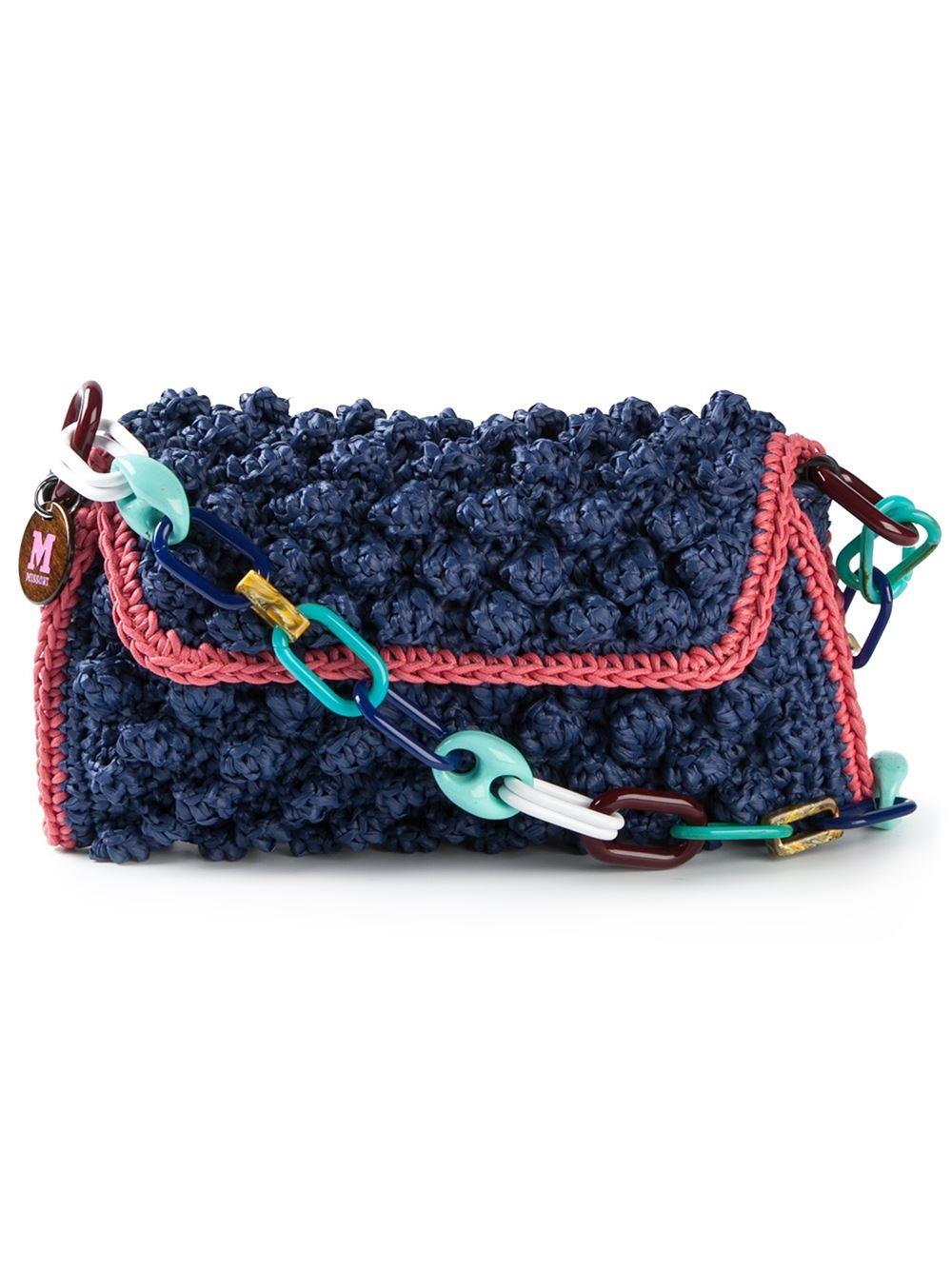 M Missoni Boucl 233 Knit Shoulder Bag In Blue Lyst