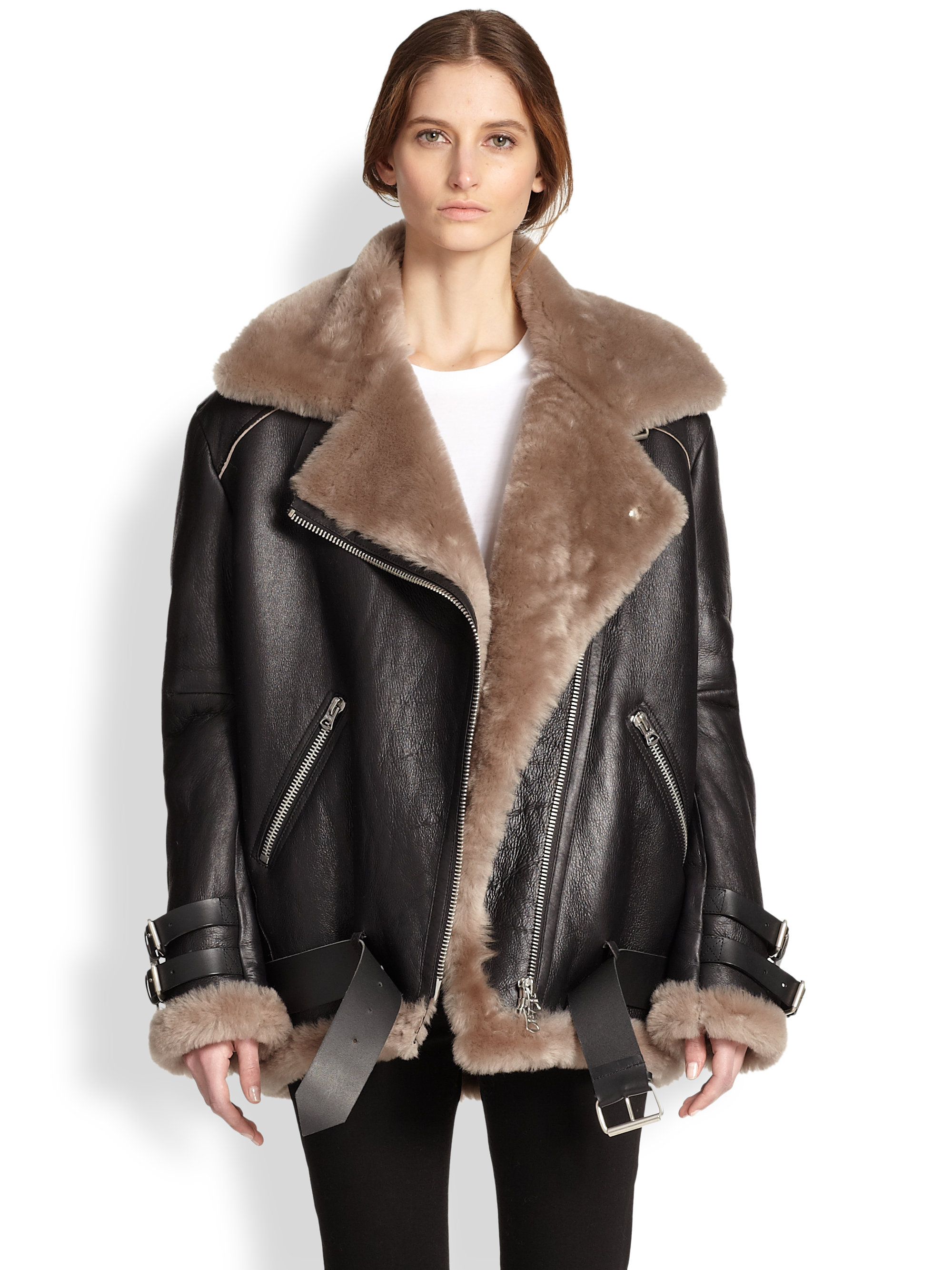 Acne Velocite Oversized Leather & Lamb Shearling Moto Jacket in