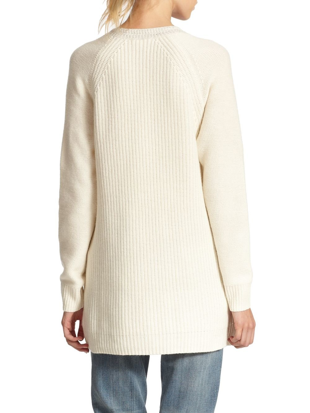 Rebecca taylor Oversized Side-zip Sweater in Natural | Lyst