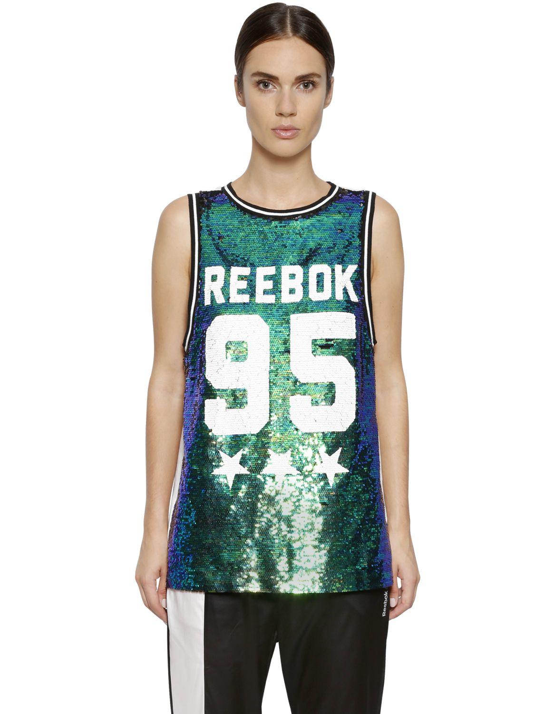 22d47f79b51 Lyst - Reebok Studio Dance Sequined Basketball Jersey in Green