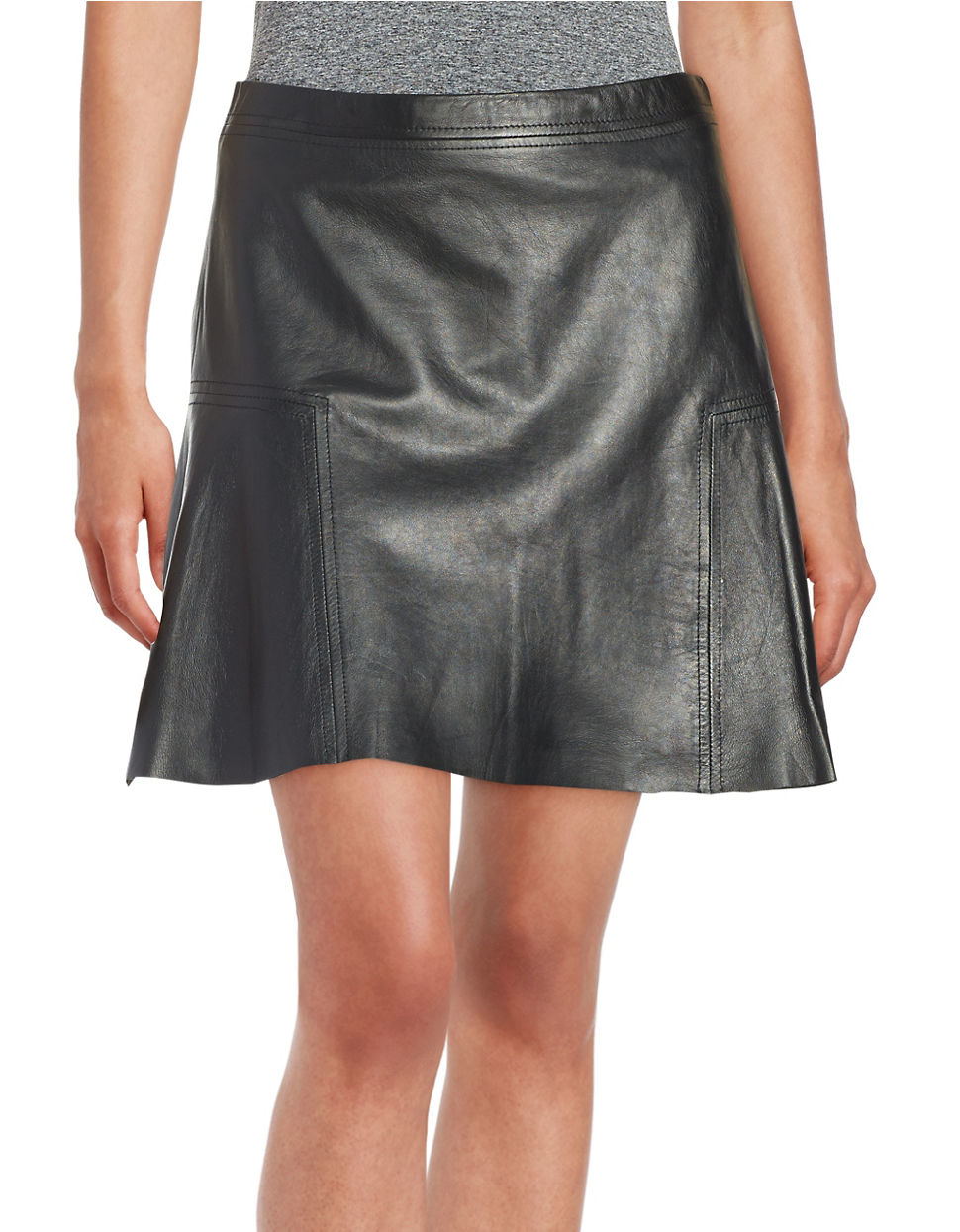 michael michael kors leather skater skirt in black lyst