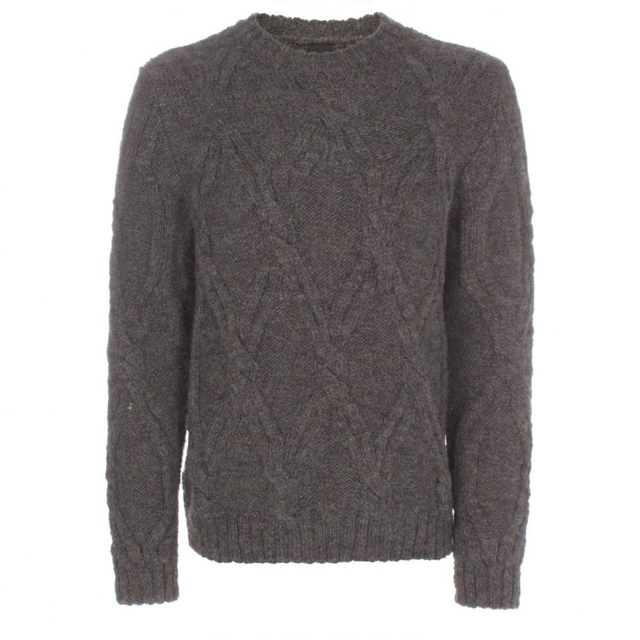 e508c8981d4025 Paul Smith Men's Grey Cable Knit Wool-alpaca Sweater in Gray for Men ...