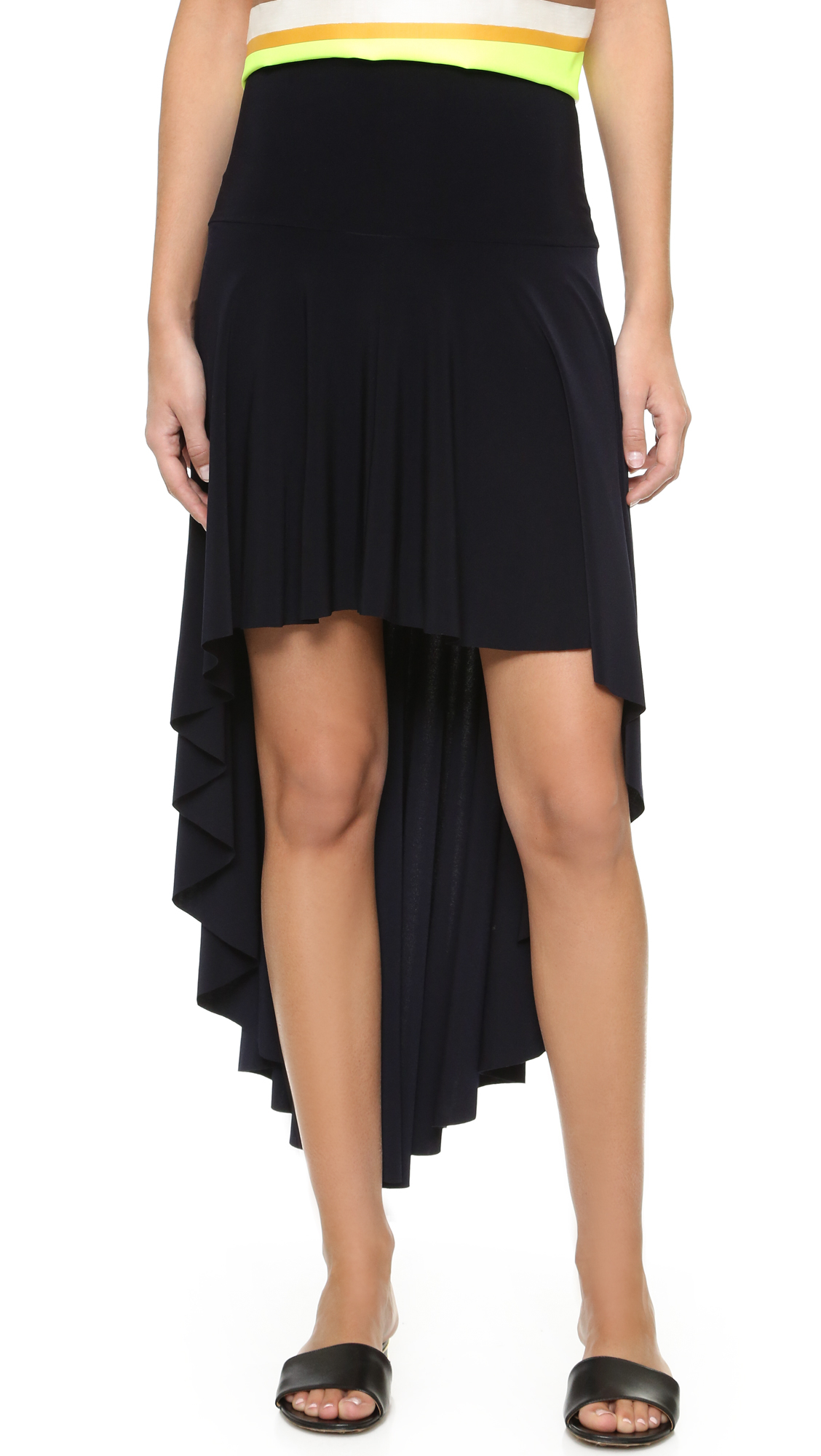 norma kamali kamali kulture high low skirt in black lyst