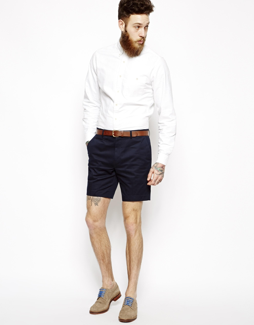 Asos Slim Fit Smart Chino Shorts in Blue for Men | Lyst
