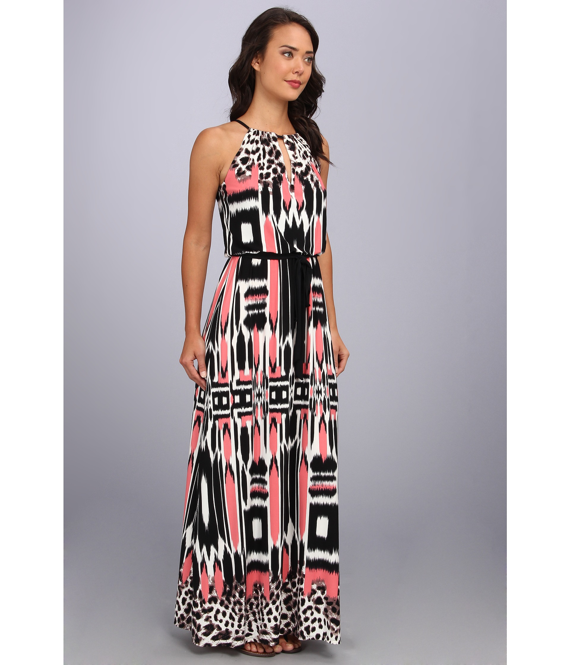 f131ed50 Maggy London Abstract Animal Printed Halter Maxi Dress - Lyst