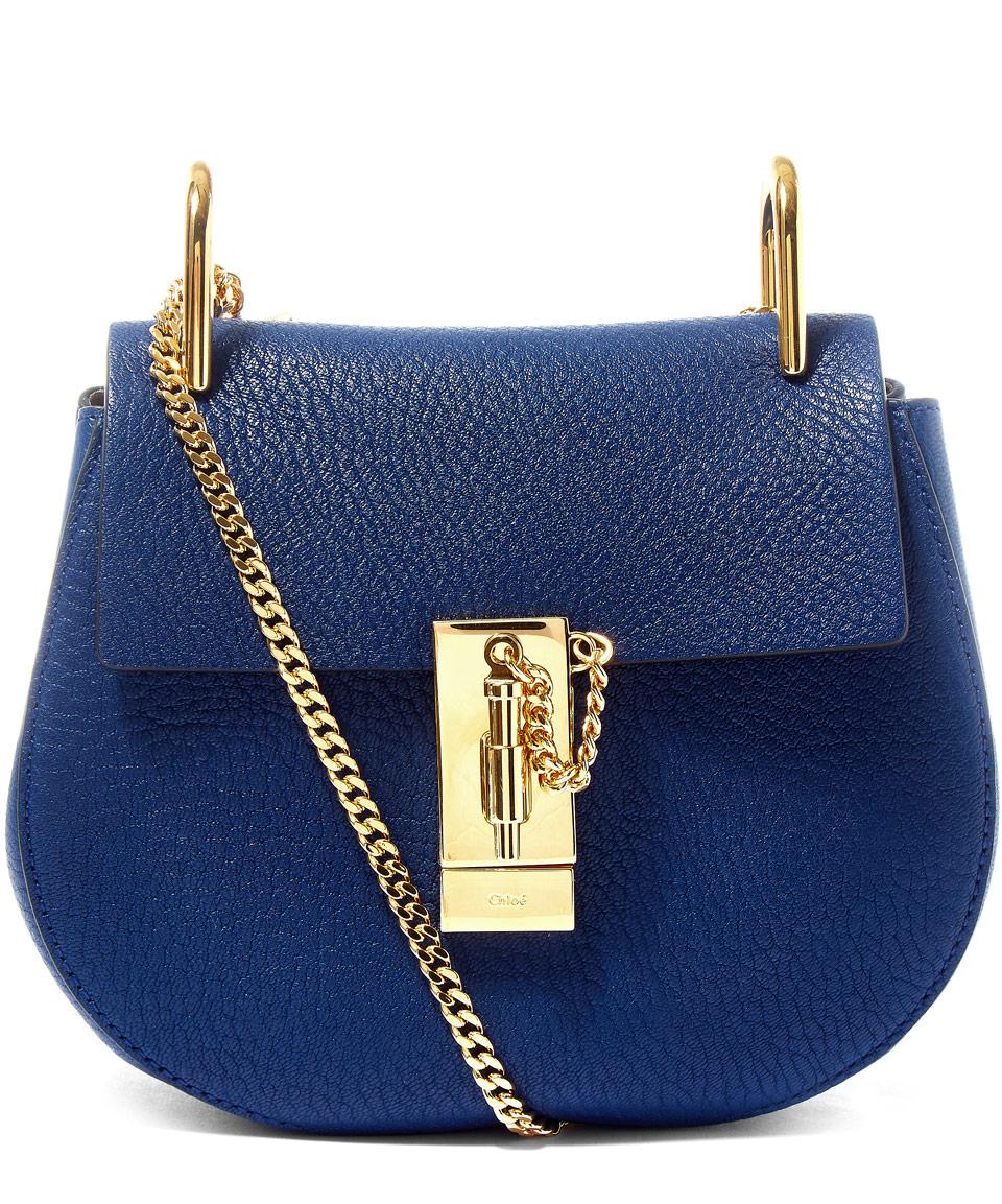 chlo drew mini leather shoulder bag in blue lyst. Black Bedroom Furniture Sets. Home Design Ideas