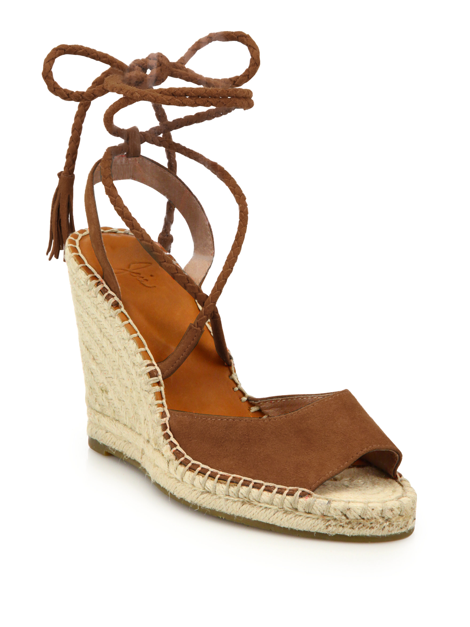 f0de7aab713b9 Lyst - Joie Phyllis Suede Lace-up Espadrille Wedge Sandals in Brown