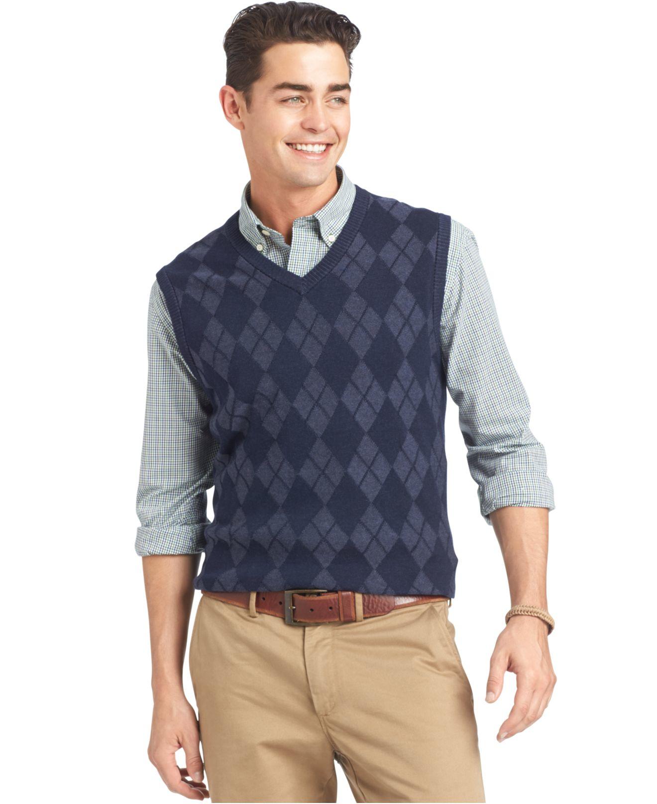 Izod Textured Argyle Sweater Vest in Blue for Men | Lyst