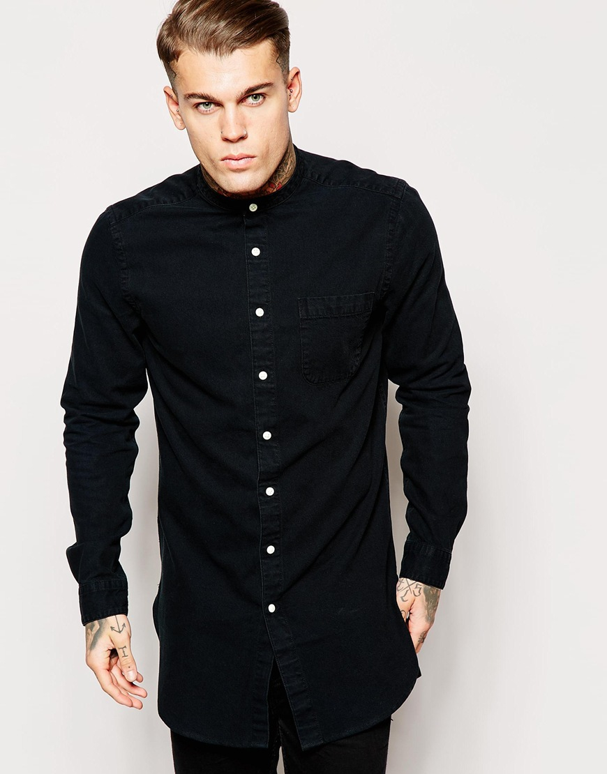 Lyst - Asos Overdyed Shirt In Super Longline With Grandad Collar ...