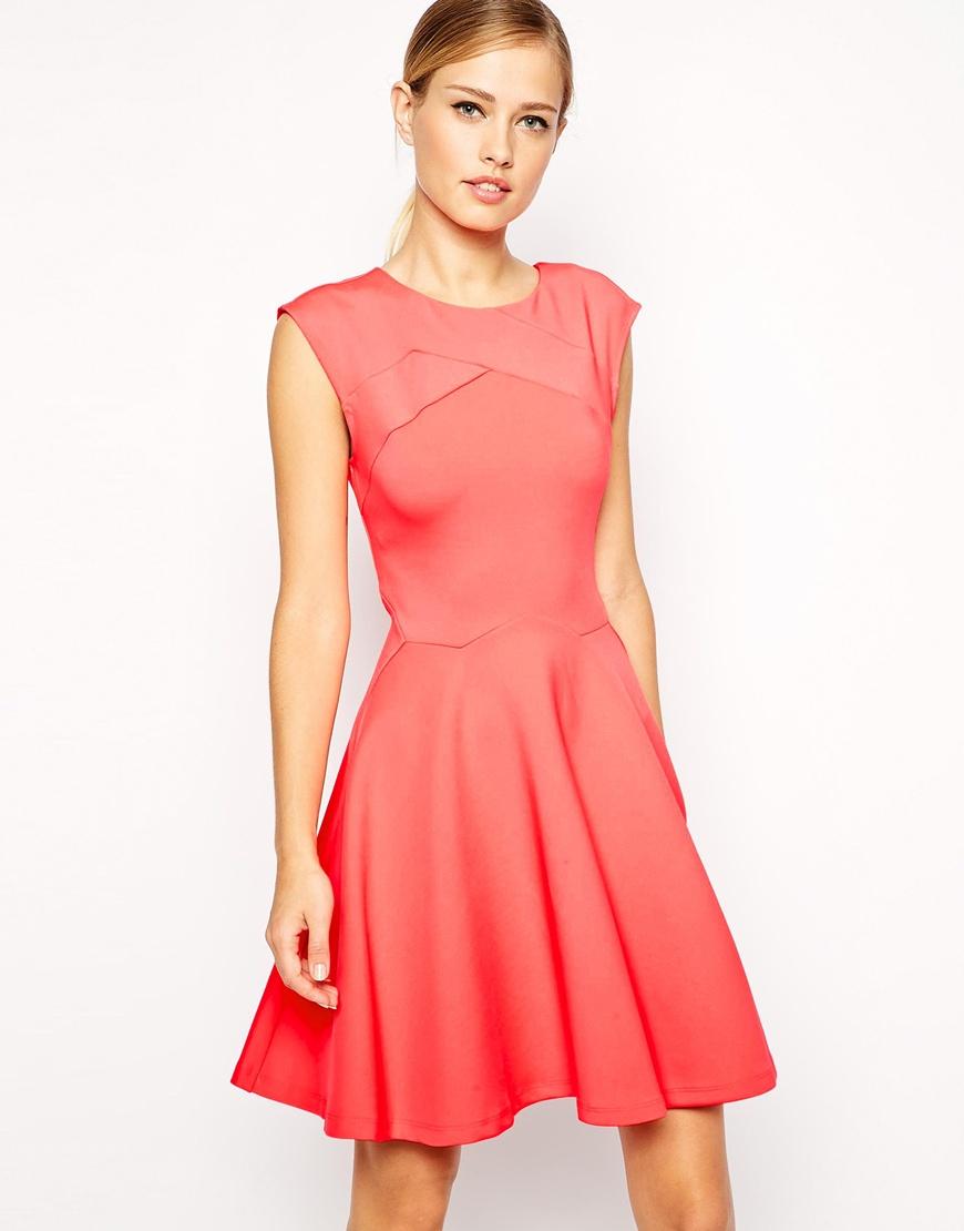 b6c6cb84c71850 Lyst - Ted Baker Skater Dress In Tangerine in Red
