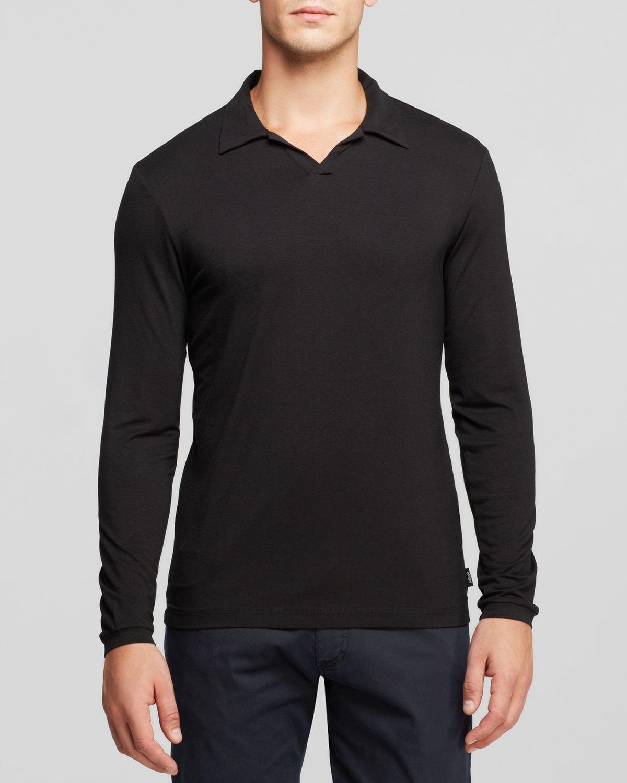 5b8e8ac35b inexpensive lyst armani long sleeve polo in black for men 81bbc 333ed