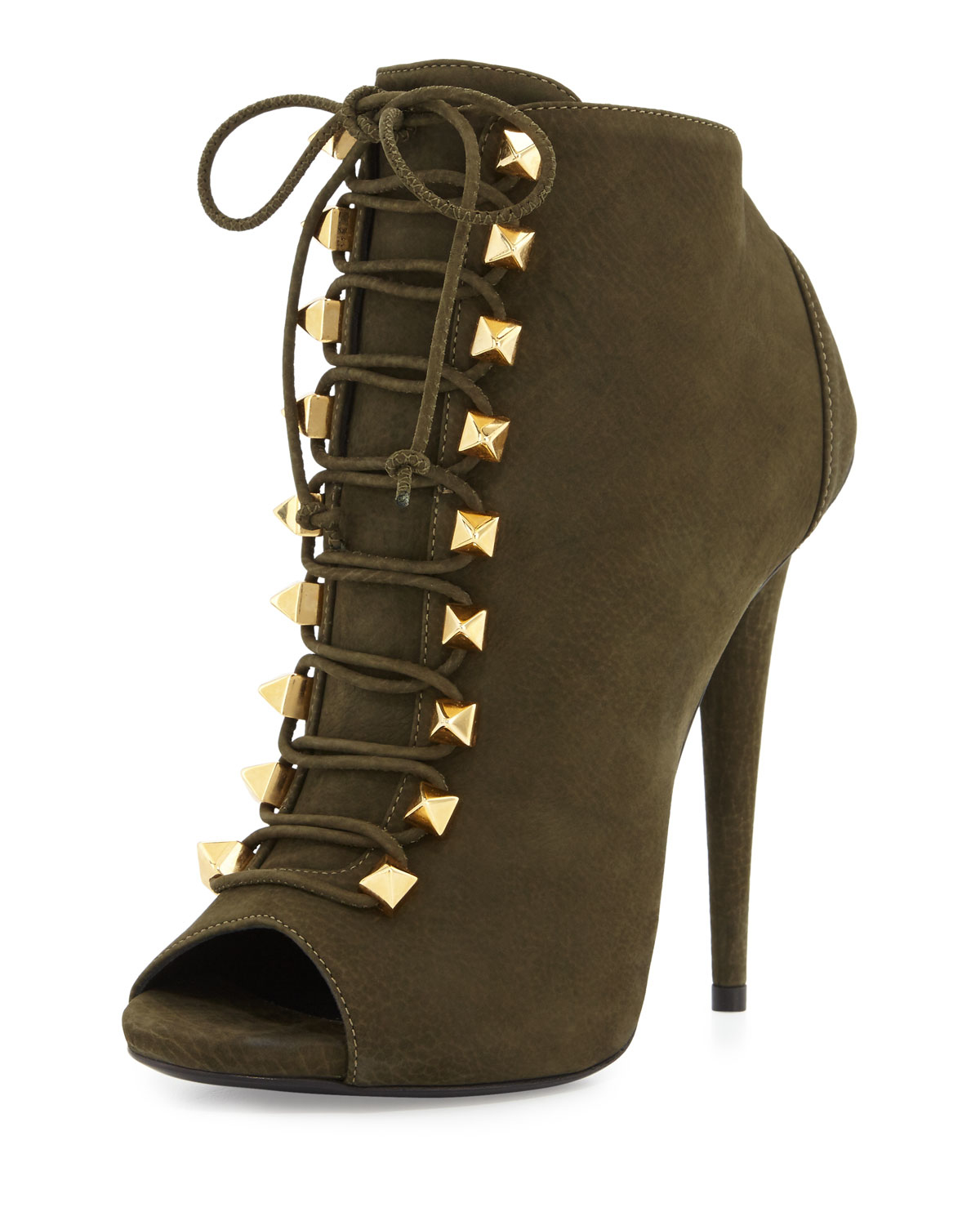 Giuseppe zanotti Suede Lace-up High-heel Bootie in Green | Lyst