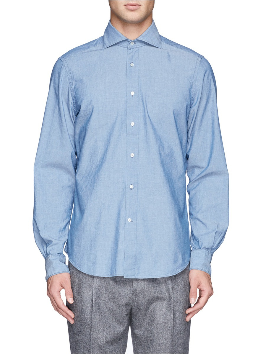 Boglioli spread collar chambray shirt in blue for men lyst for Men s spread collar shirts