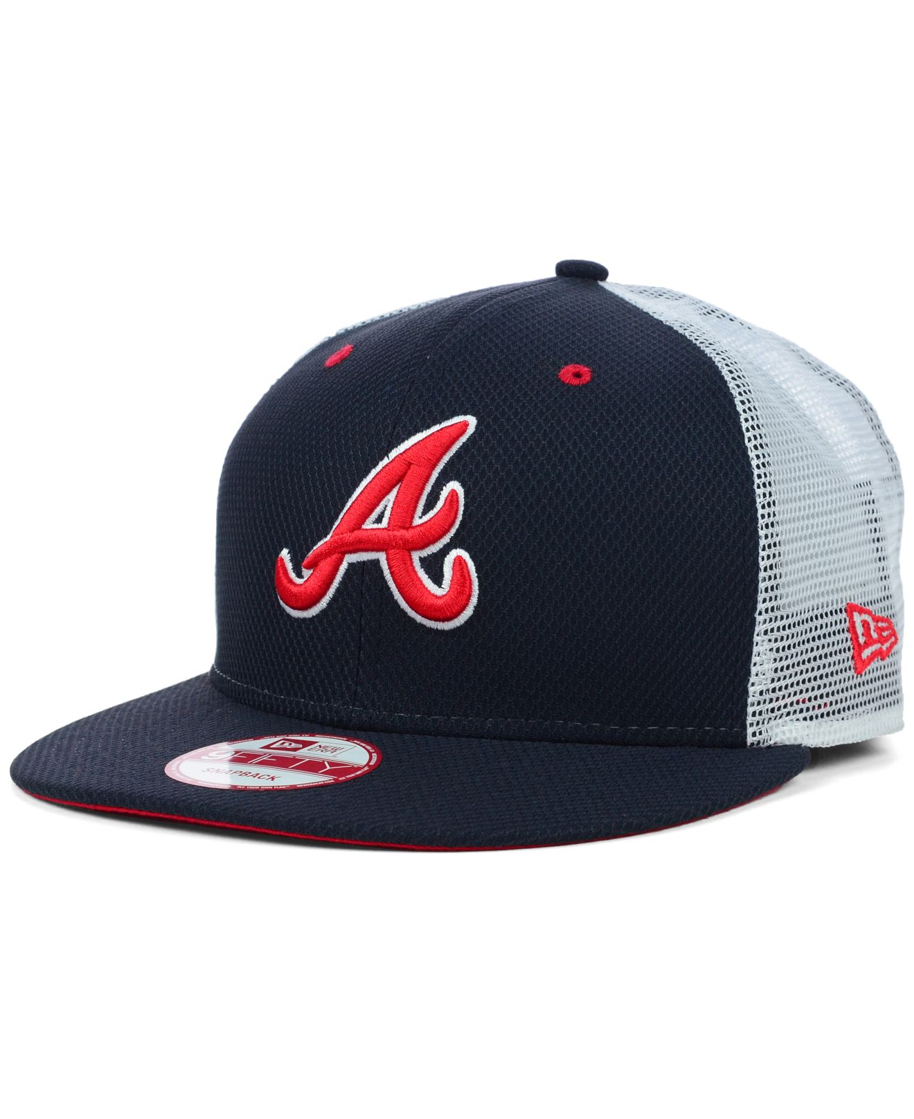 best authentic 56cf4 37cdf ... low cost lyst ktz atlanta braves mlb diamond mesh 9fifty snapback cap  in 0b361 ad94e