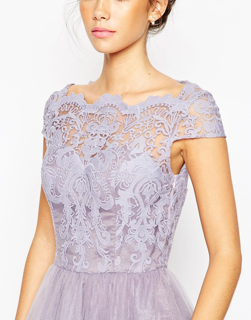 Lyst - Chi Chi London Premium Lace Midi Prom Dress With Bardot Neck in Pink a5a56ffc91