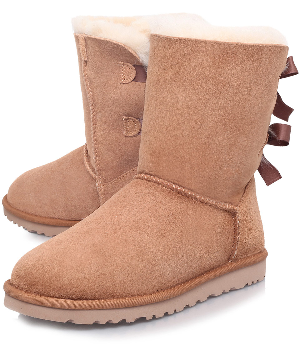 ugg 174 classic bailey bow boots in brown lyst