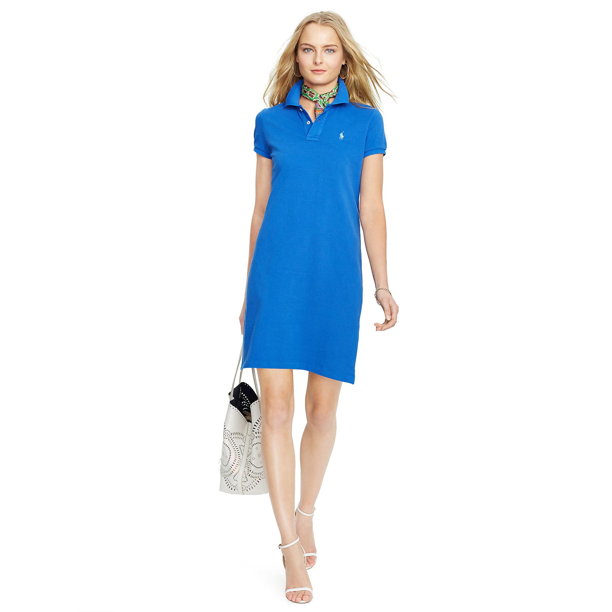 331bab6eefb7a Lyst - Polo Ralph Lauren Cotton Mesh Polo Dress in Blue