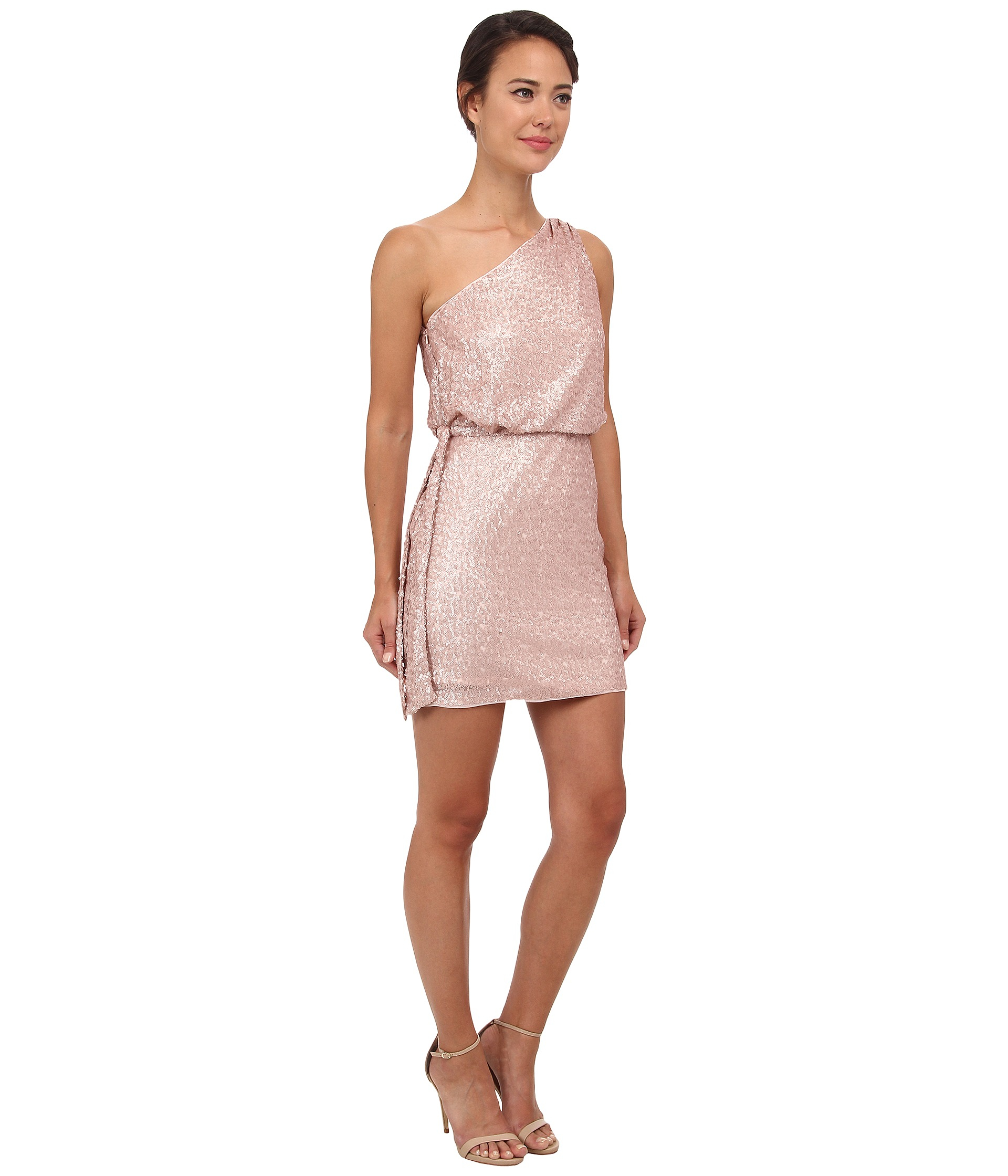 Aidan mattox One Shoulder Sequin Cocktail Dress in Pink | Lyst