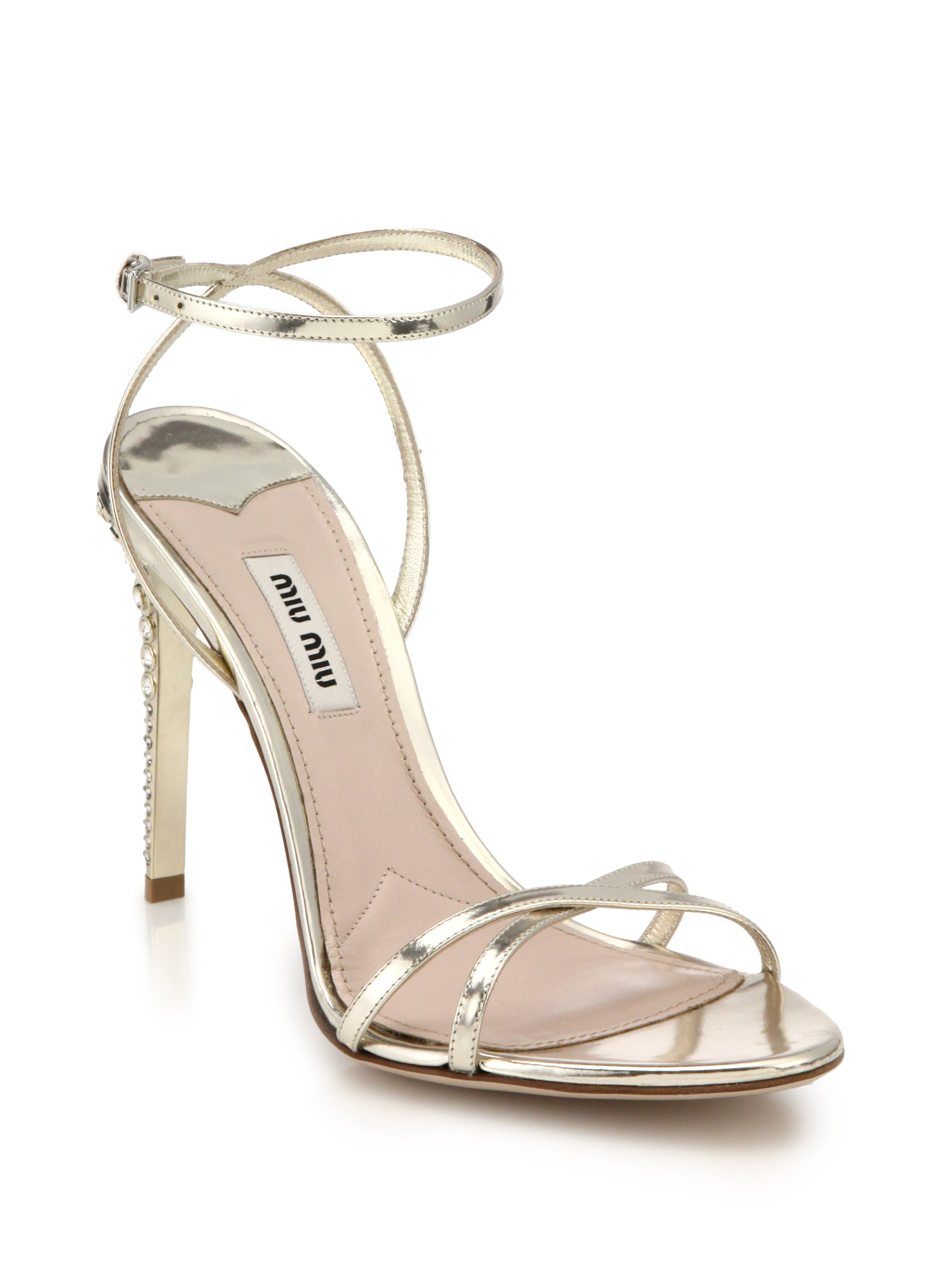 a6f148cdd Lyst - Miu Miu Swarovski Crystal-Heel Metallic Leather Sandals in ...