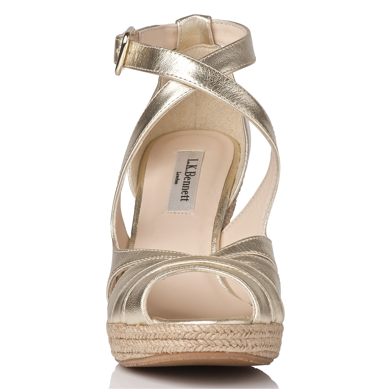 9c76b155c69d L.K.Bennett Maggie Espadrille Wedge Sandal in Metallic - Lyst