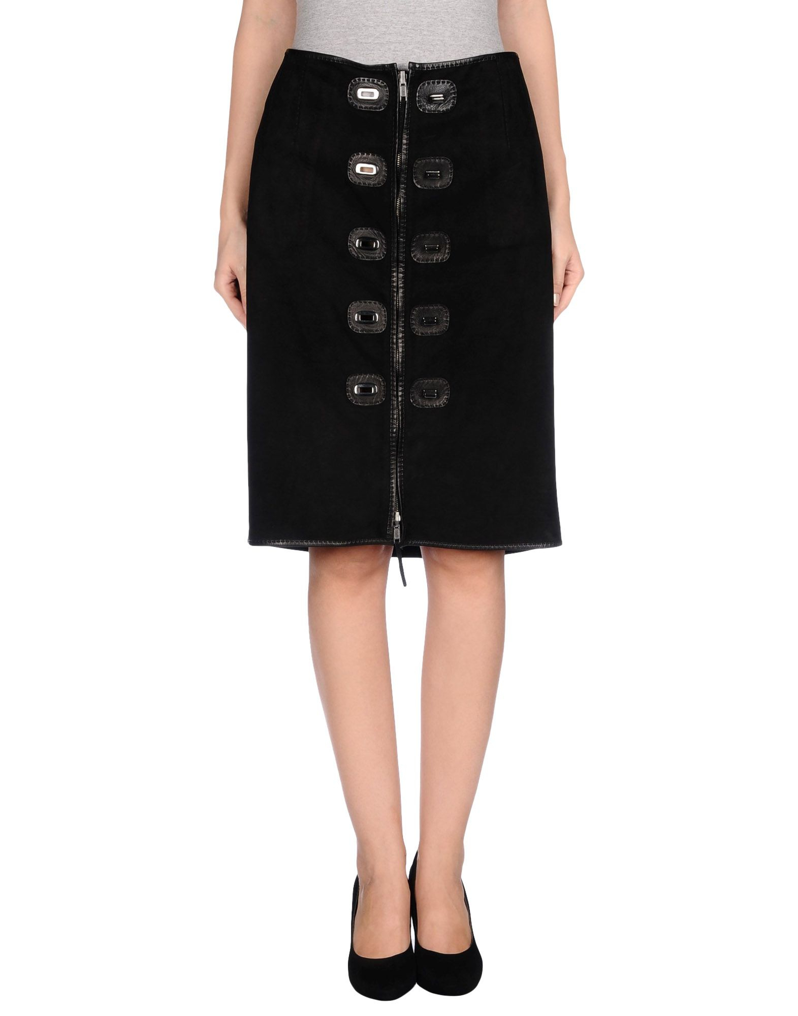 jean paul gaultier knee length skirt in black lyst