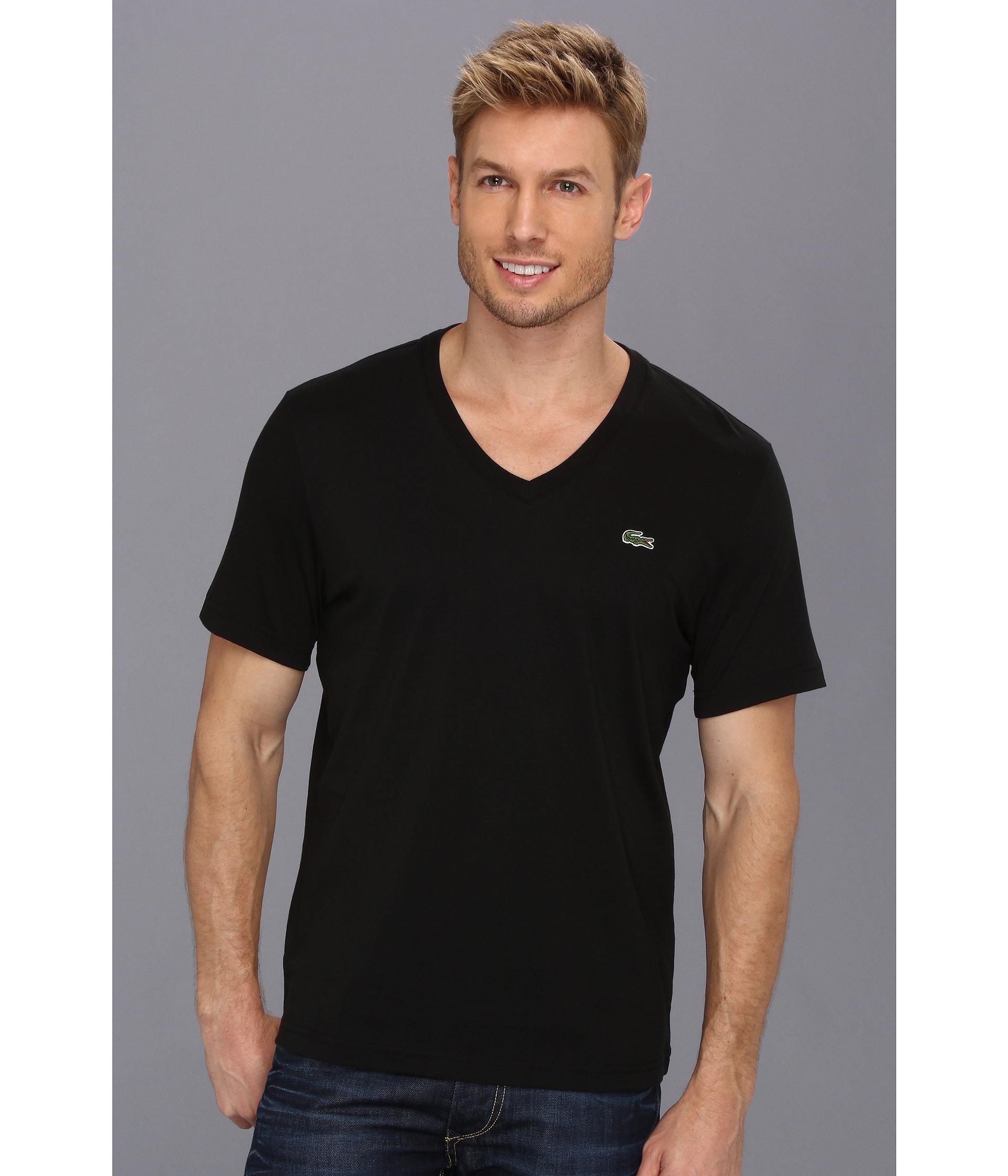 lacoste l ve short sleeve v neck t shirt in black for men. Black Bedroom Furniture Sets. Home Design Ideas