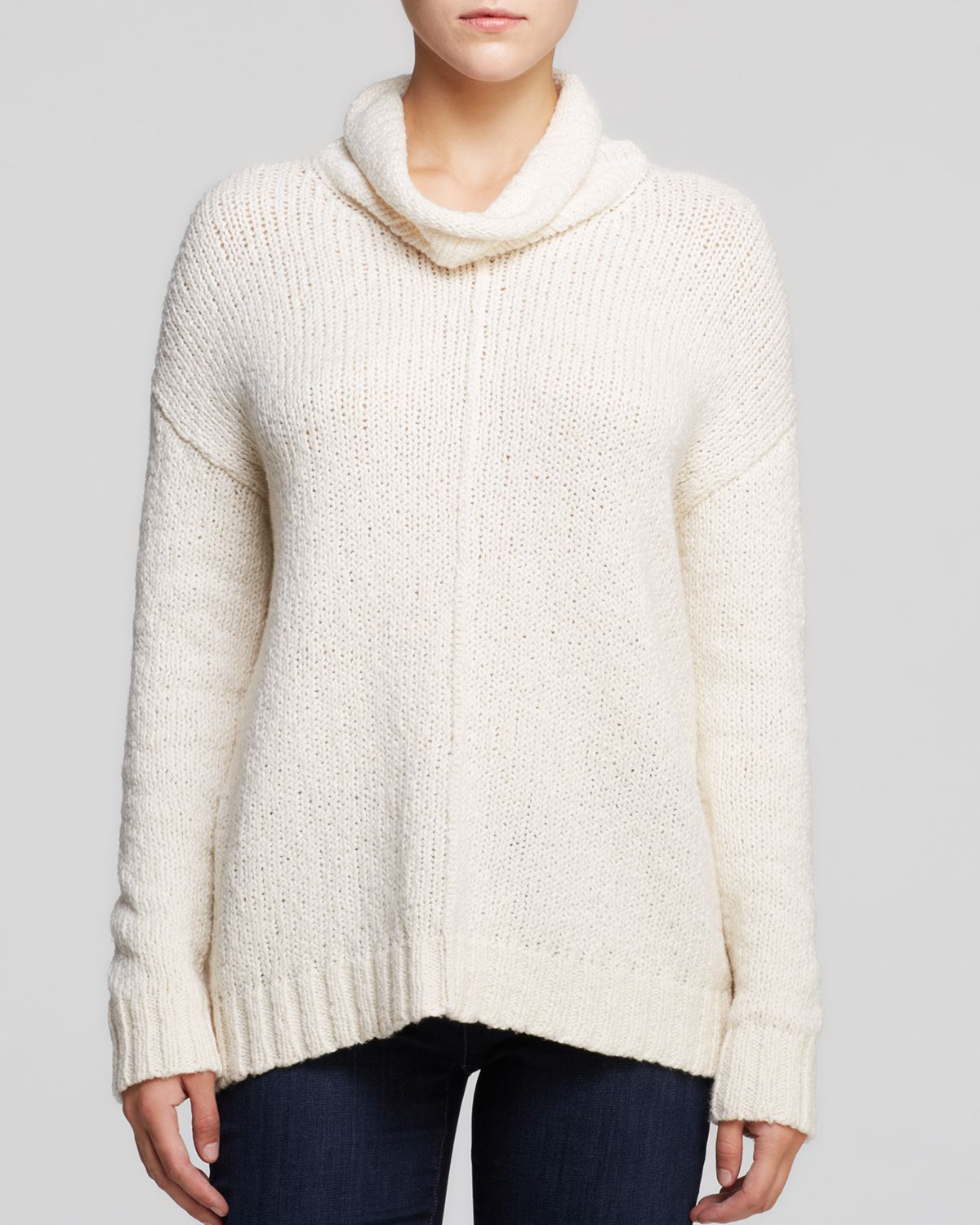 Eileen fisher Cotton Turtleneck Sweater in White | Lyst