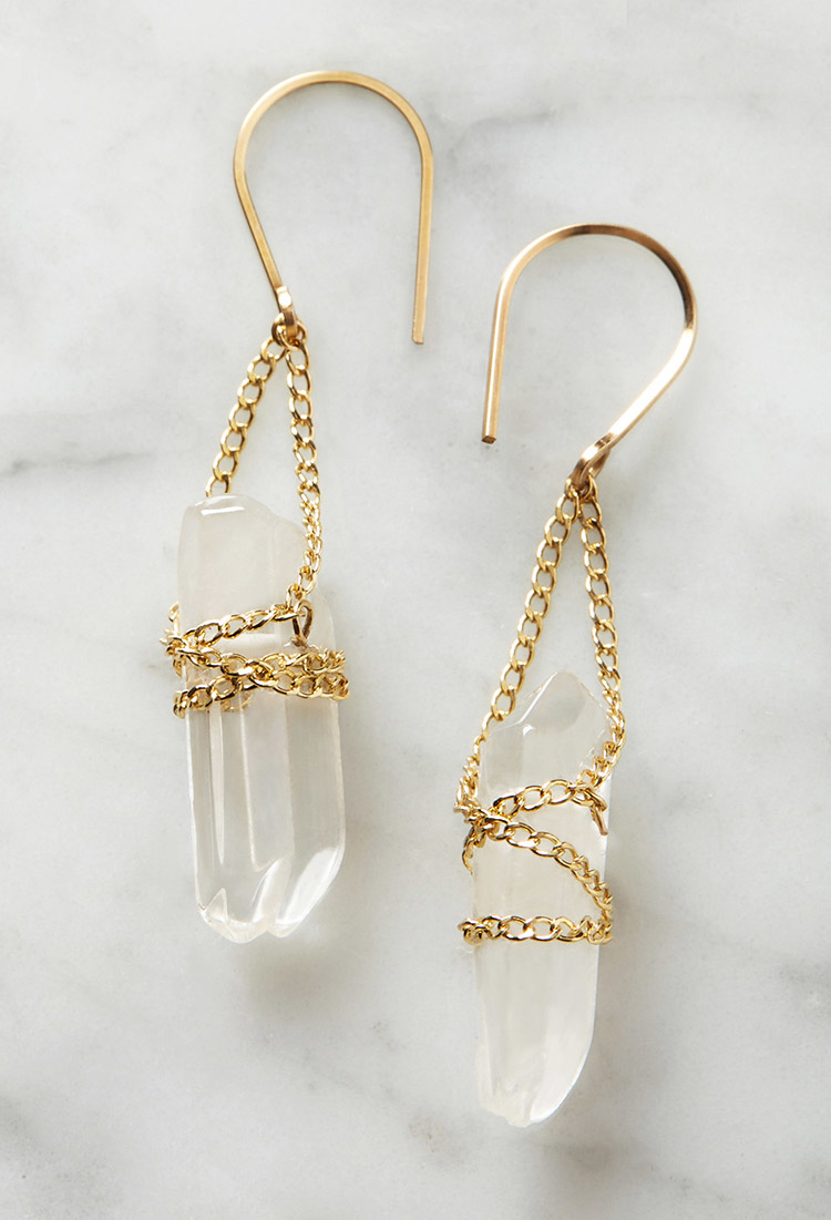 Forever 21 by boe wrapped quartz earrings lyst for Forever 21 jewelry earrings