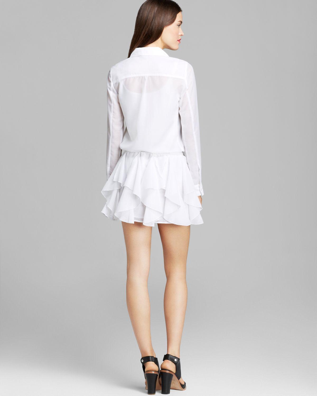 f6b64b1df2 Guess Shirt Dress Ruffle in White - Lyst
