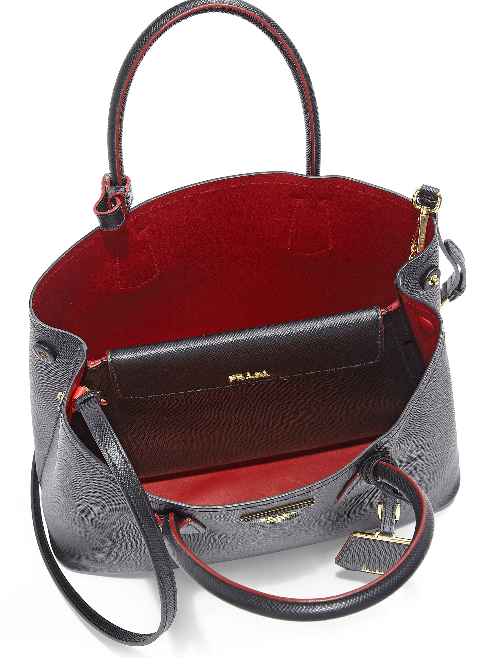 Prada Saffiano Cuir Small Double Bag in Red (BLACK-RED) | Lyst