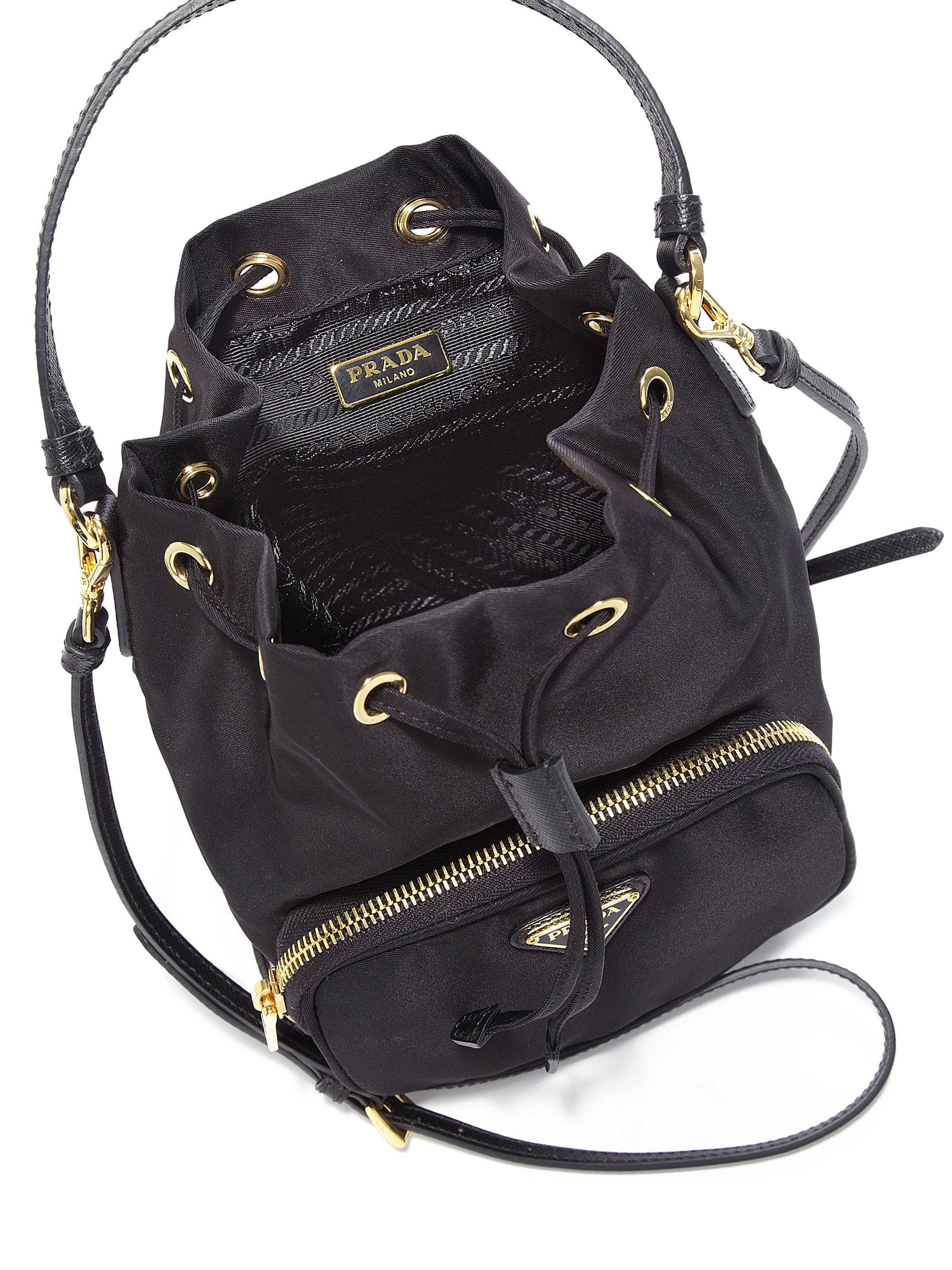 1bfc065f3feef7 Prada Tess Drawstring Nylon Pouch Crossbody Bag in Black - Lyst