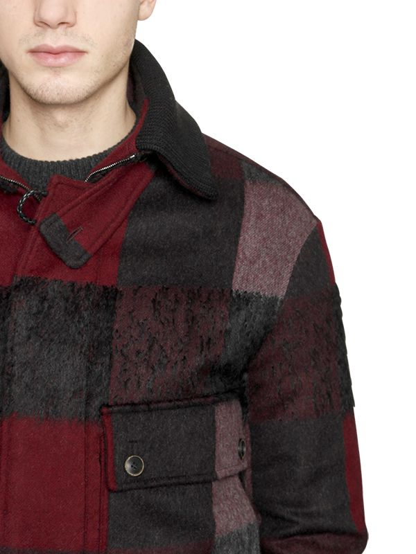 Lyst Ferragamo Checked Wool Blend Bomber Jacket In Red