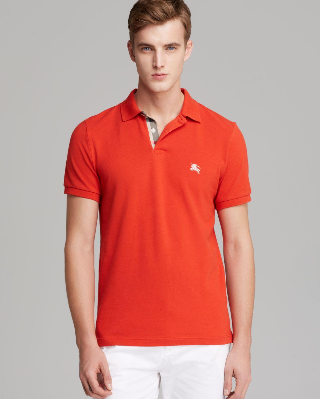 972f4f580c85 Lyst - Burberry Brit Shortsleeve Slim Polo in Orange for Men