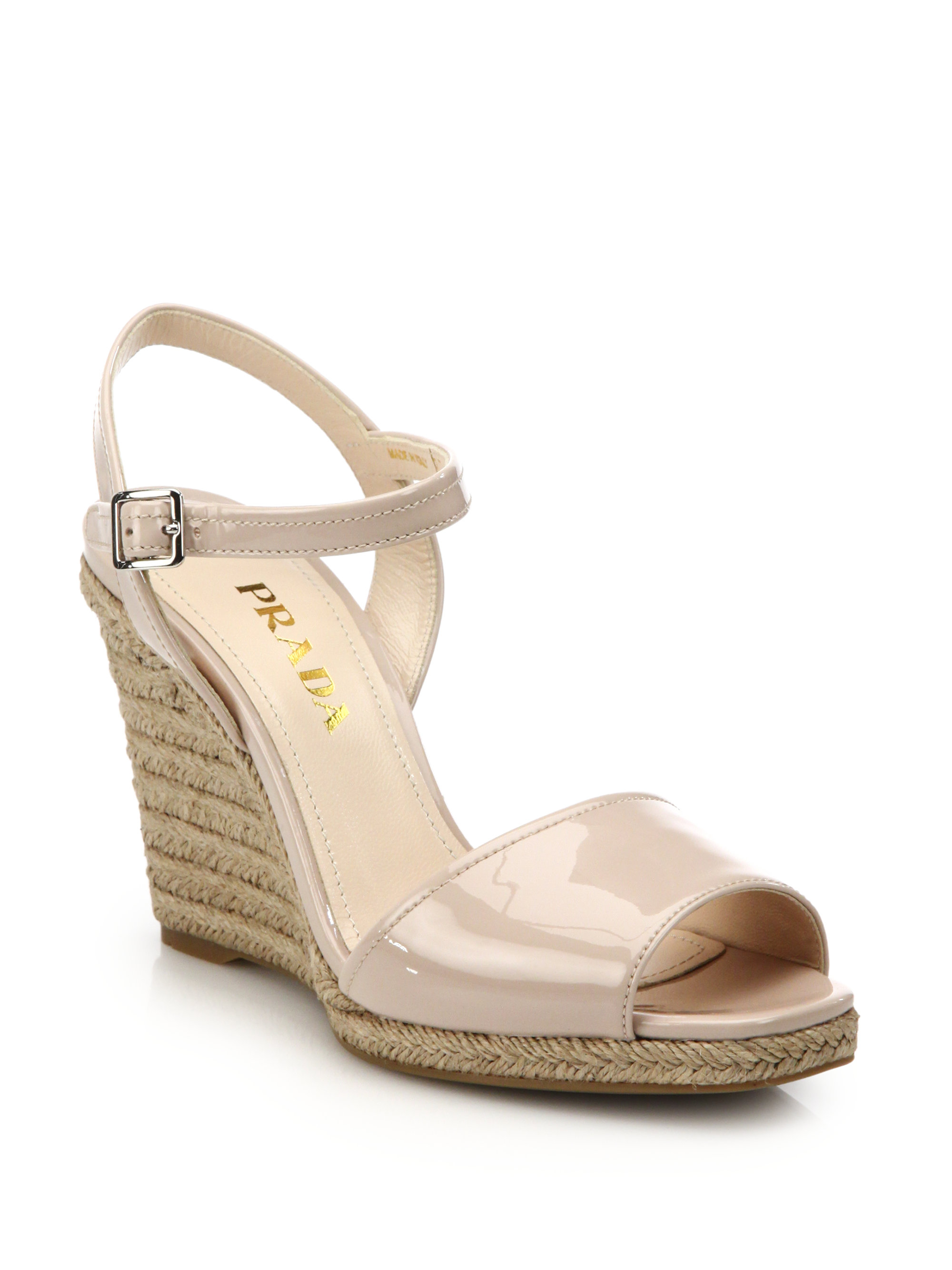 Lyst - Prada Patent Leather Espadrille Wedge Sandals in Natural 1ceaa8ff35