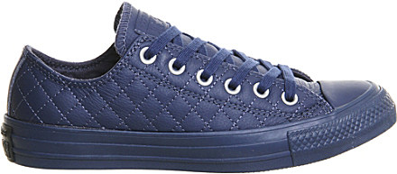 Converse All Star Low Top Quilted Leather Trainers In Blue
