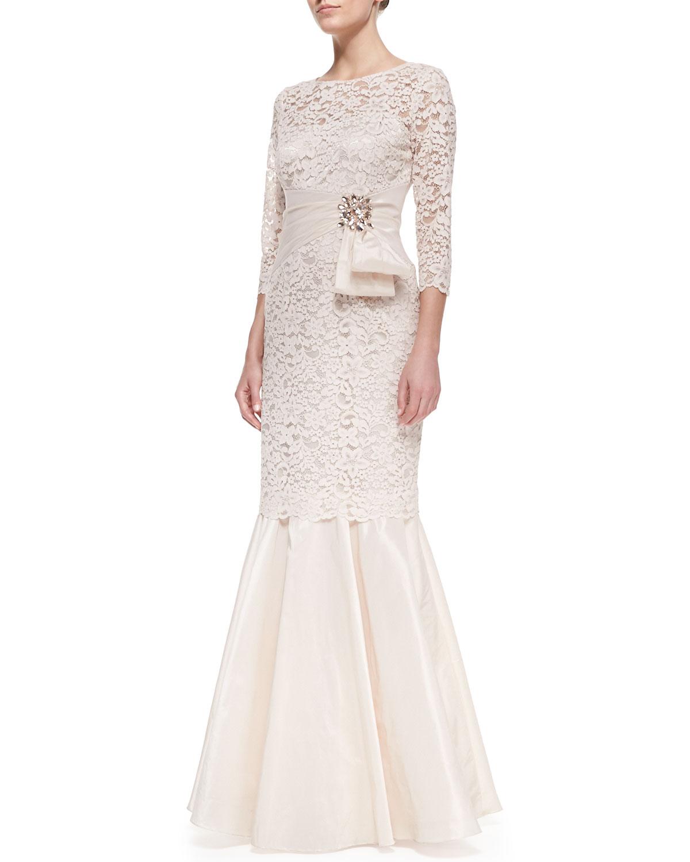 602081d553a19 Lyst - Teri Jon Elbo -Sleeve Lace & Taffeta Gown in Metallic