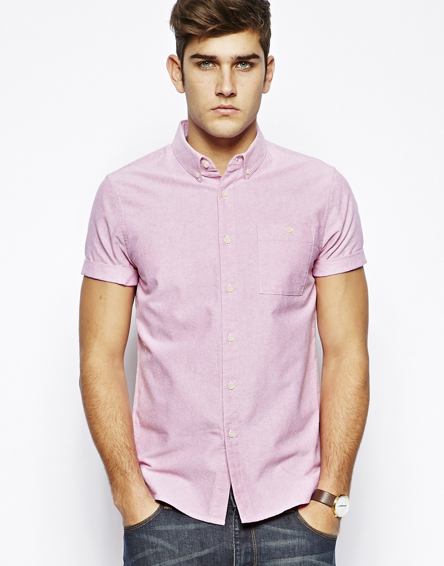 Asos Oxford Shirt in Dark Pink with Short Sleeves in Pink for Men ...
