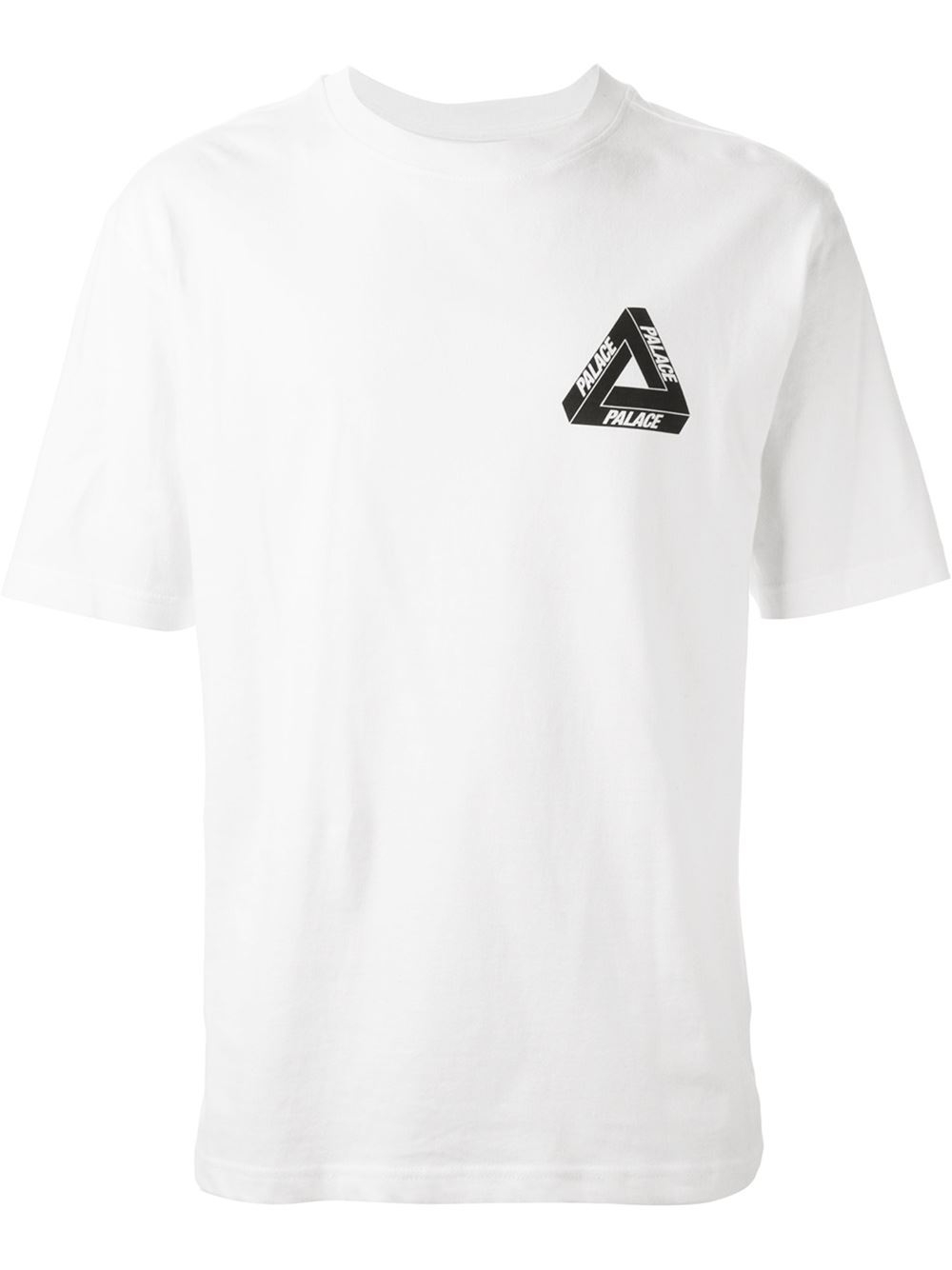 Lyst palace logo t shirt in white for men for Shirts with small logos