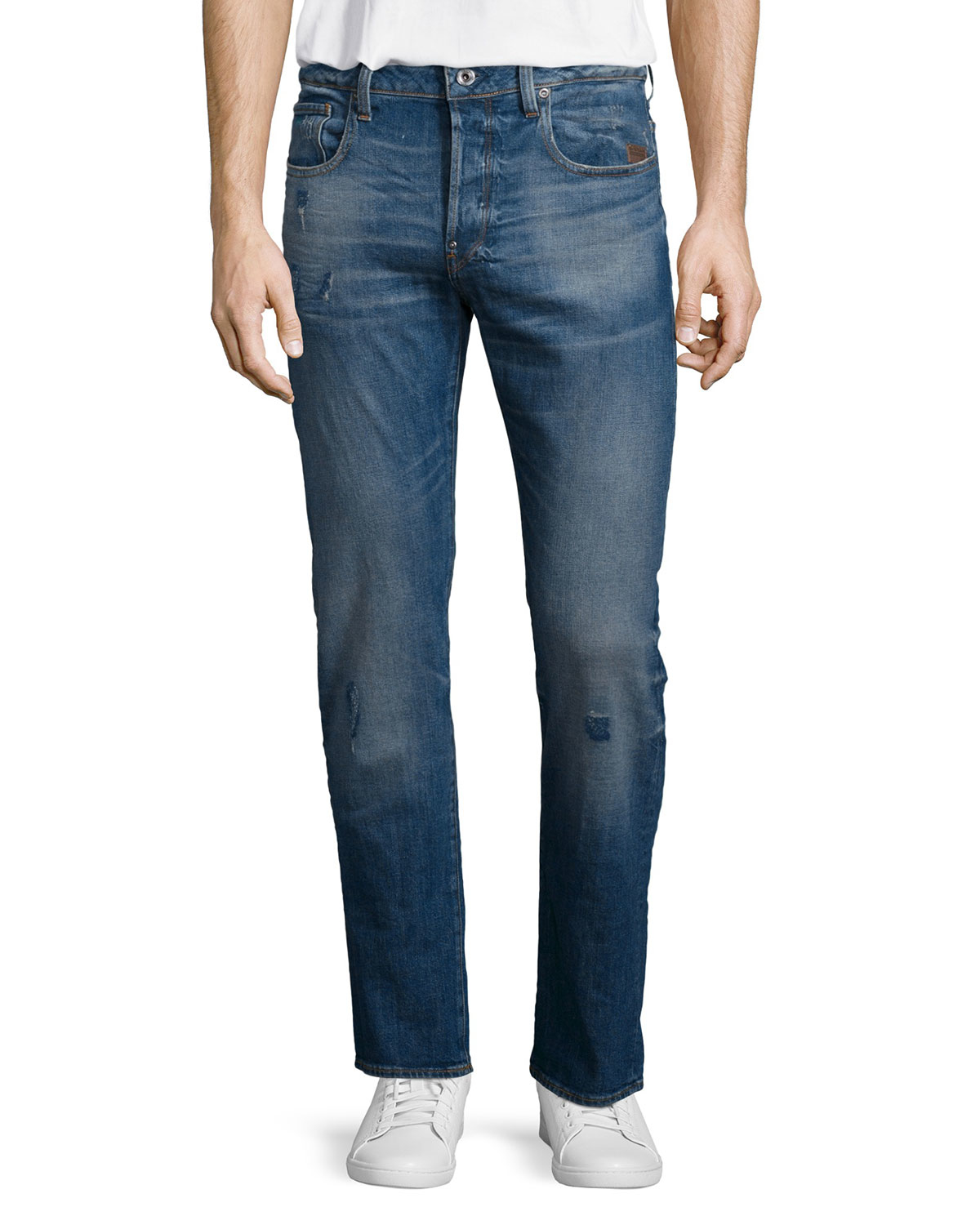 g star raw defend straight leg stretch jeans in blue for. Black Bedroom Furniture Sets. Home Design Ideas