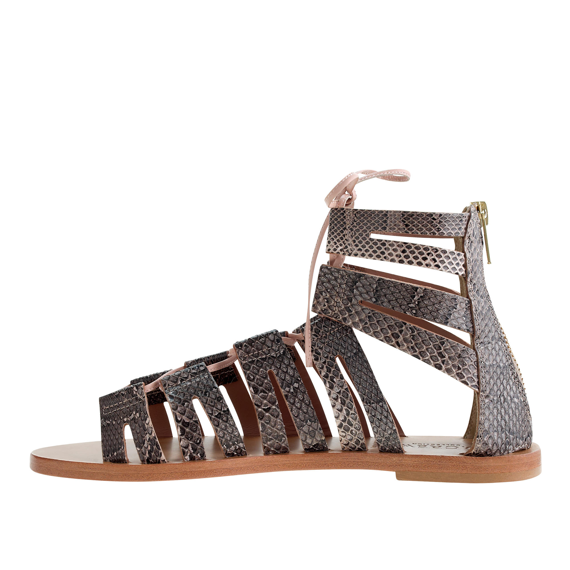 J Crew Aztec Snakeskin Lace Up Gladiator Sandals Lyst